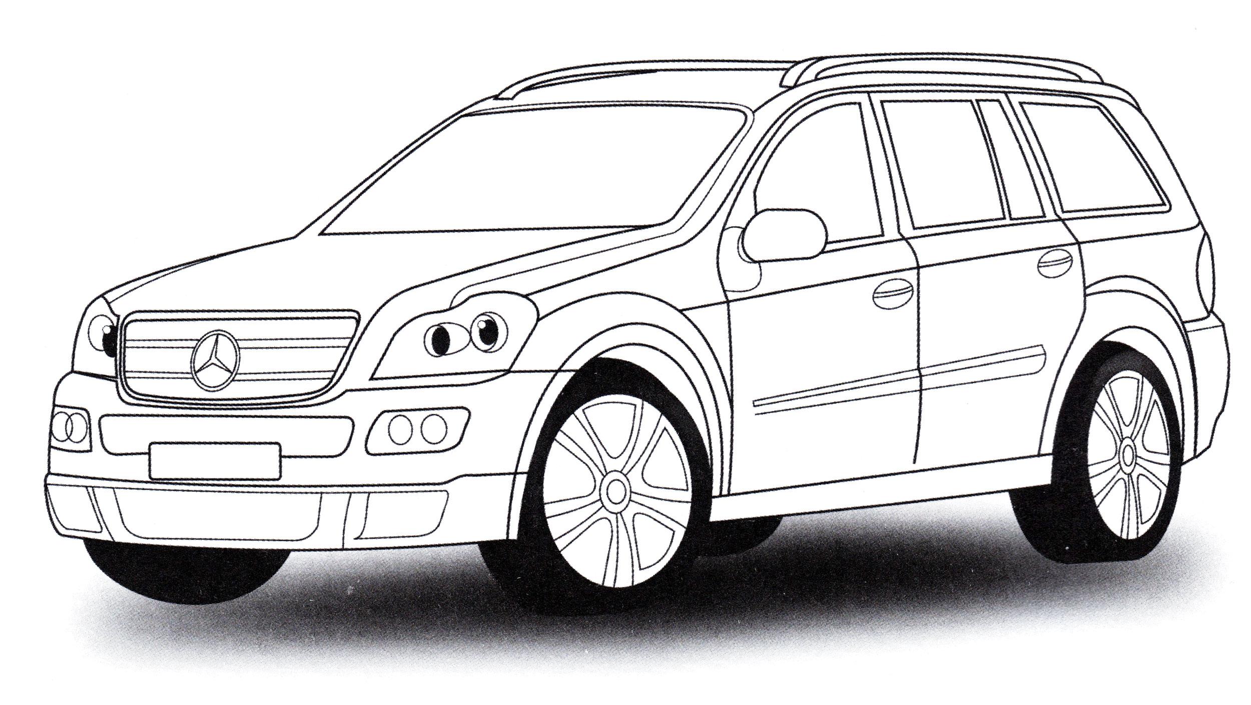 Раскраска Mercedes GL - распечатать бесплатно