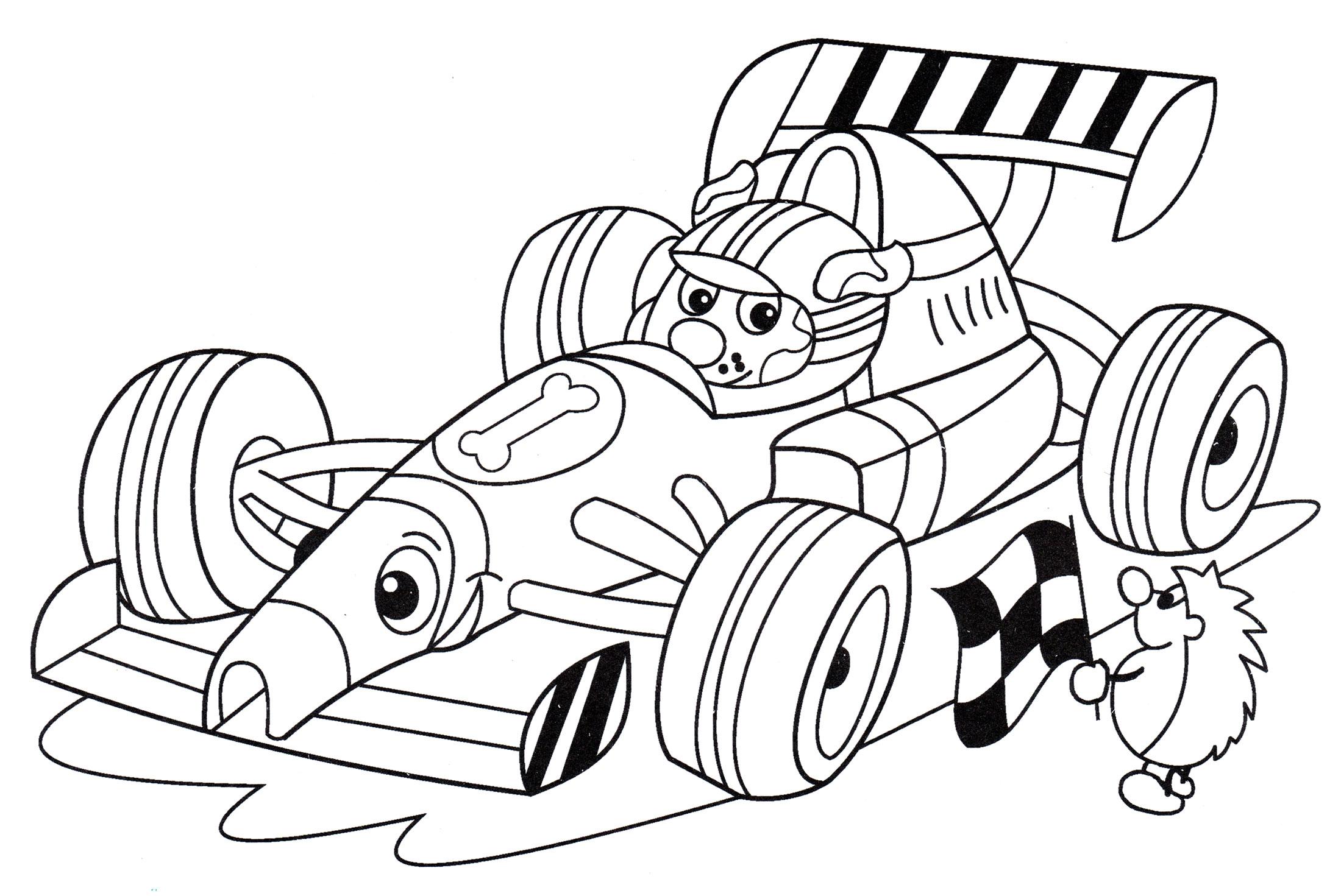 Раскраска Пес за рулем болида - распечатать бесплатно