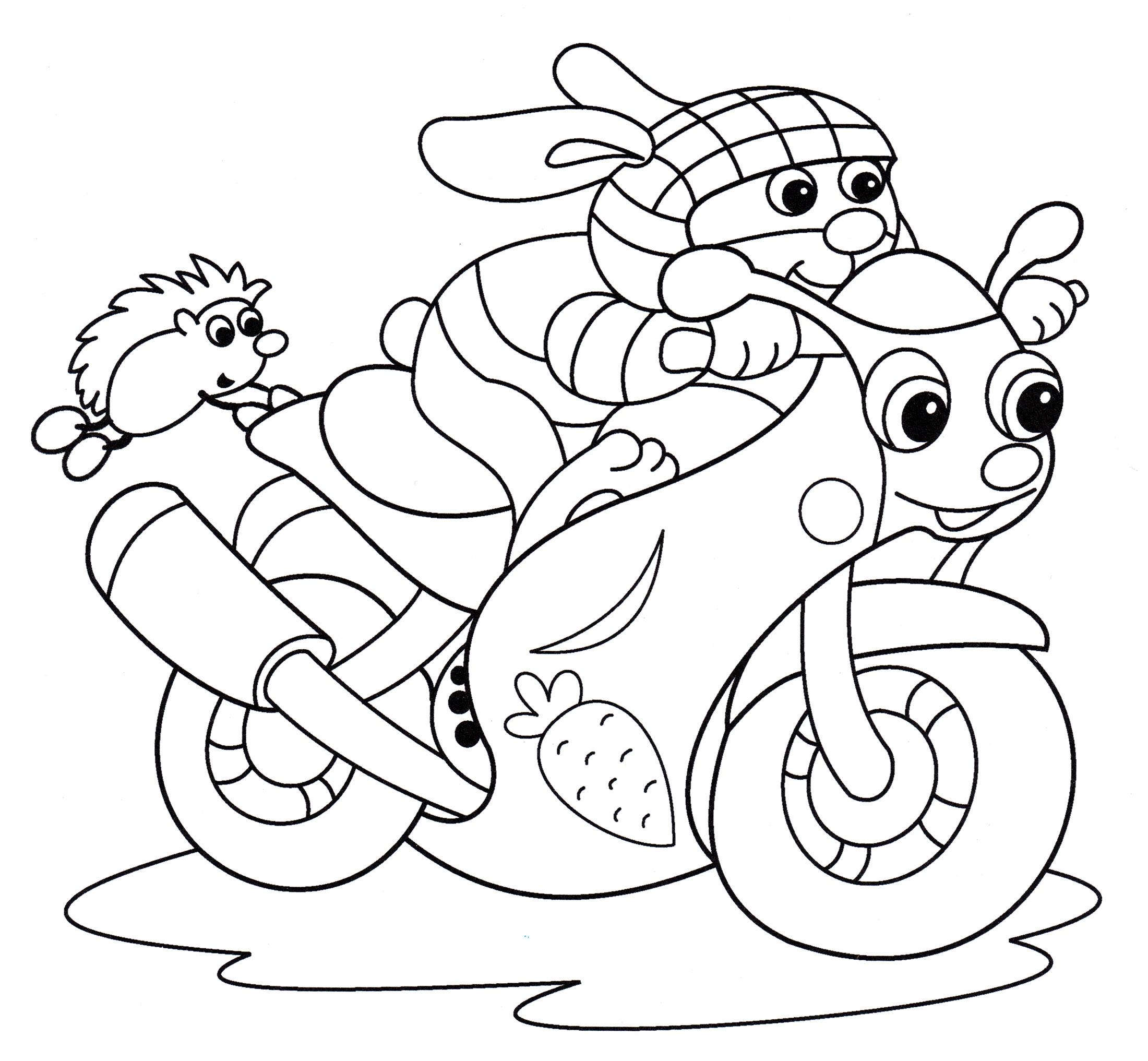 Раскраска Заяц на мотоцикле | Раскраски мотоциклы