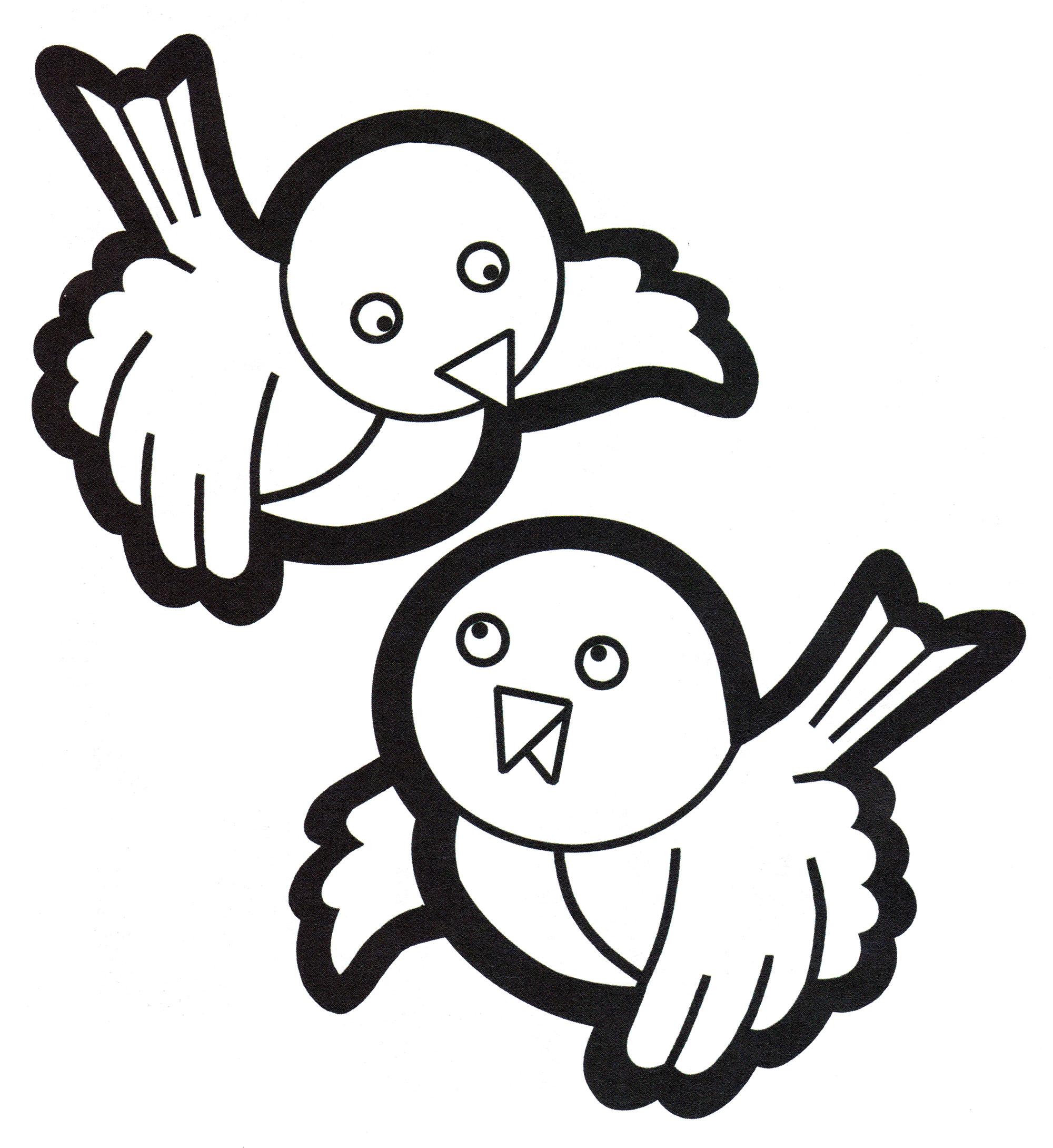 Раскраска Две милые птички - распечатать бесплатно