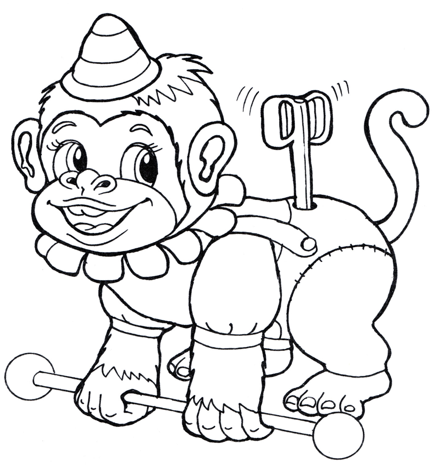 Раскраска Заводная обезьянка - распечатать бесплатно