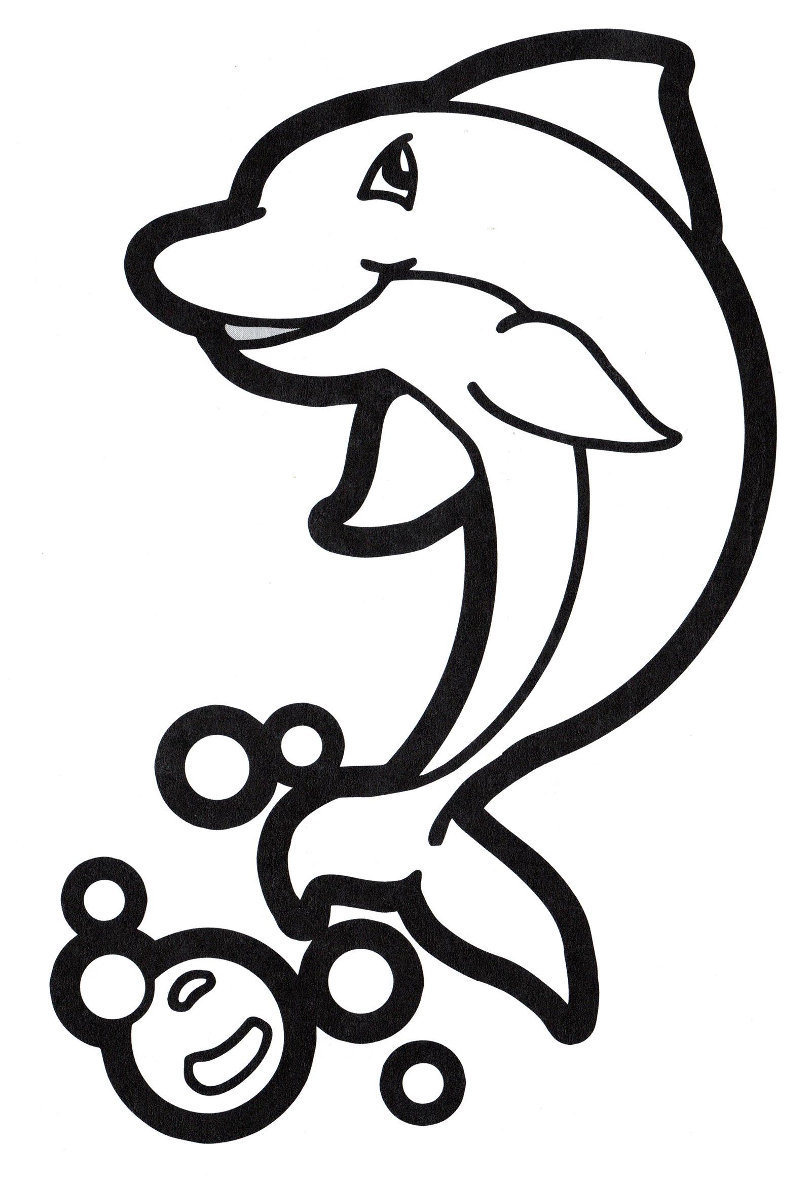 Раскраска Веселый дельфин - распечатать бесплатно