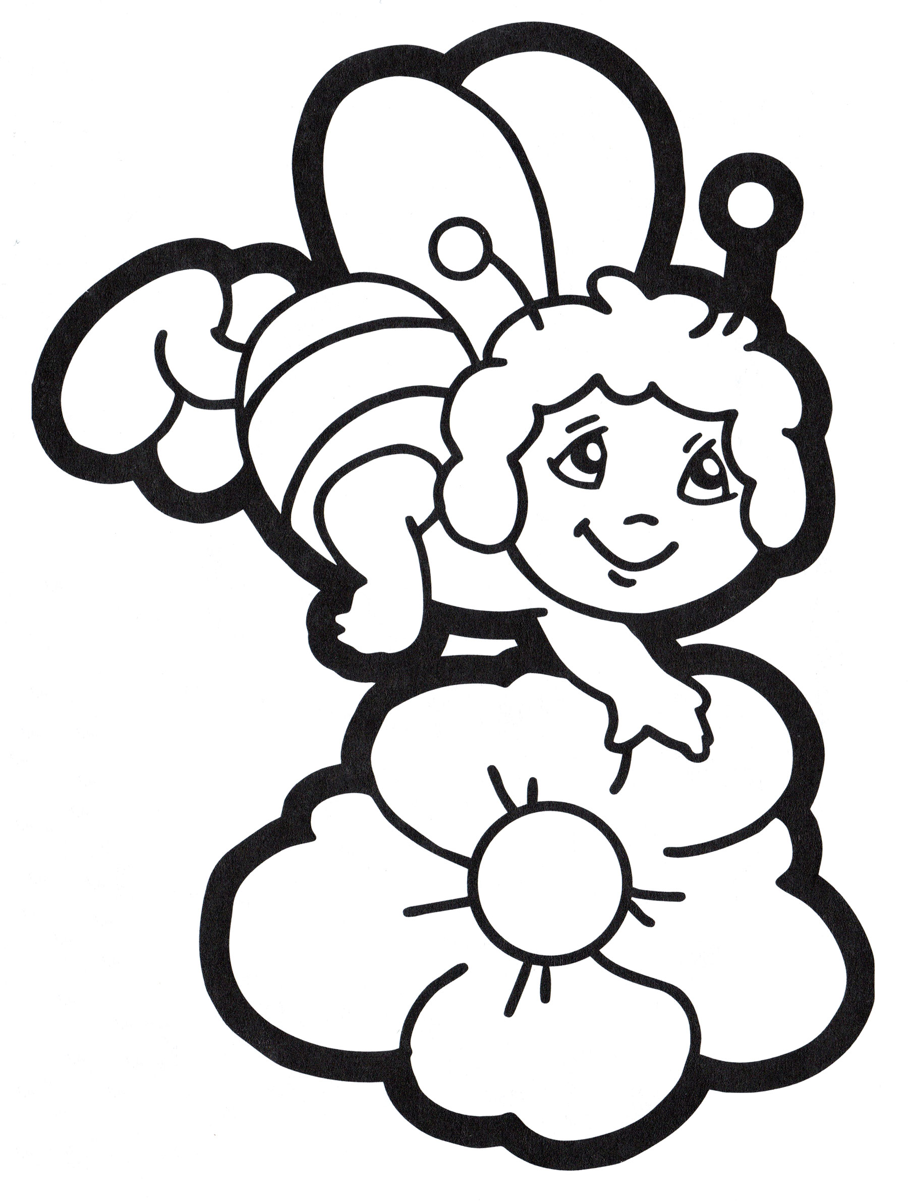 Раскраска Пчелка над цветочком - распечатать бесплатно