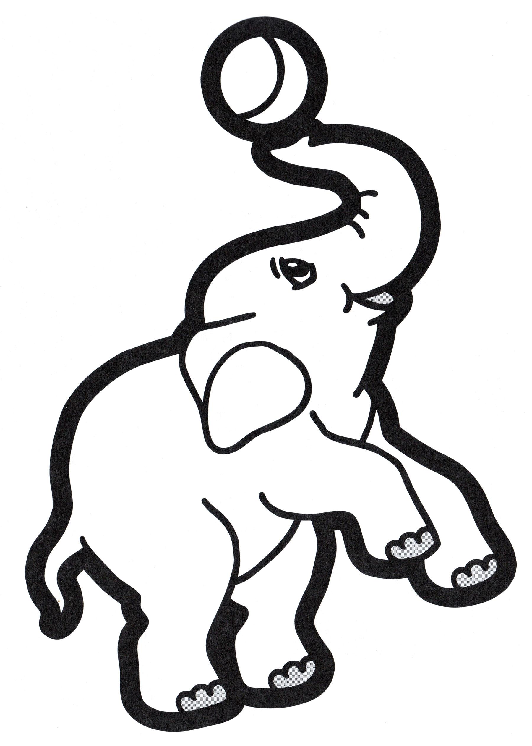 Раскраска Слон с мячиком - распечатать бесплатно