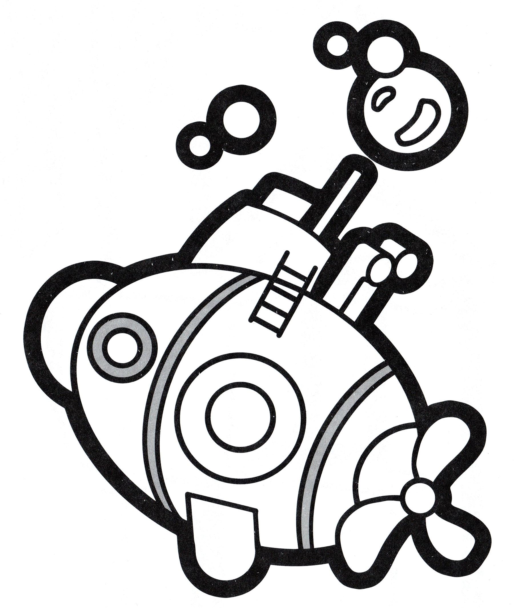 Раскраска Маленькая подводная лодка | Раскраски корабли