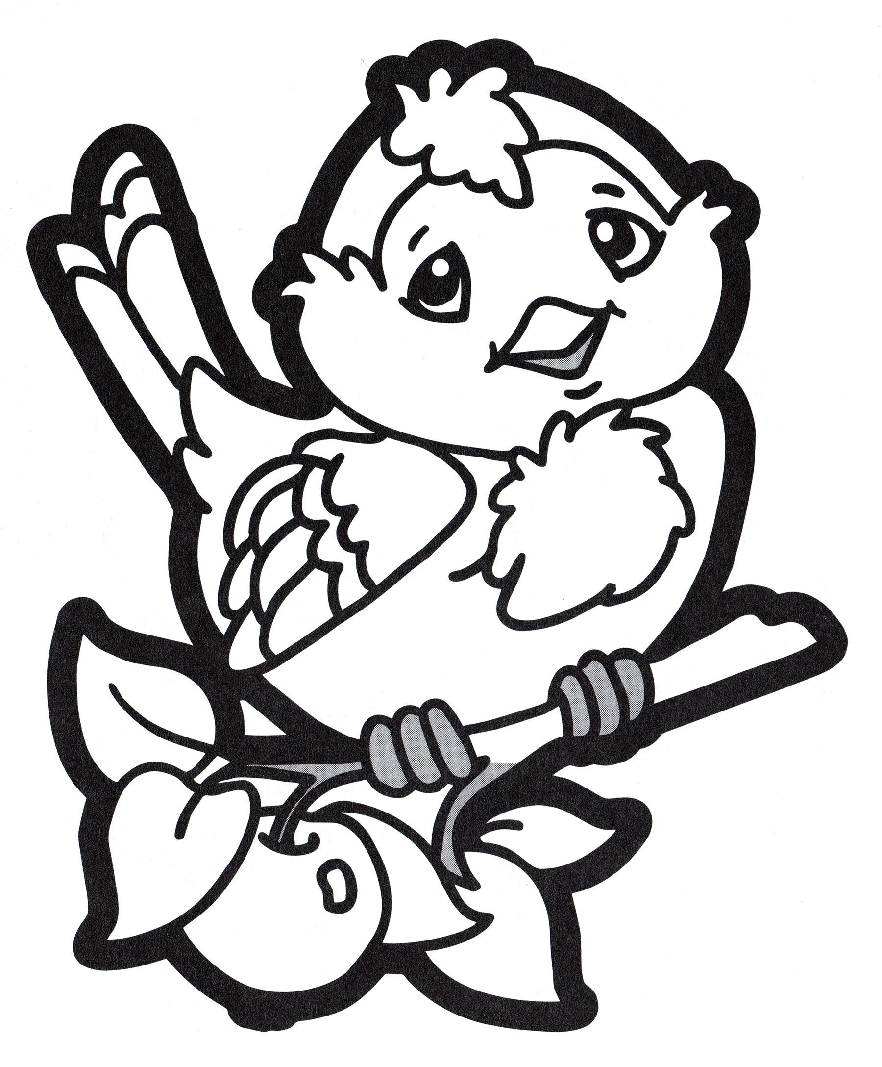 Раскраска Птичка на ветке - распечатать бесплатно