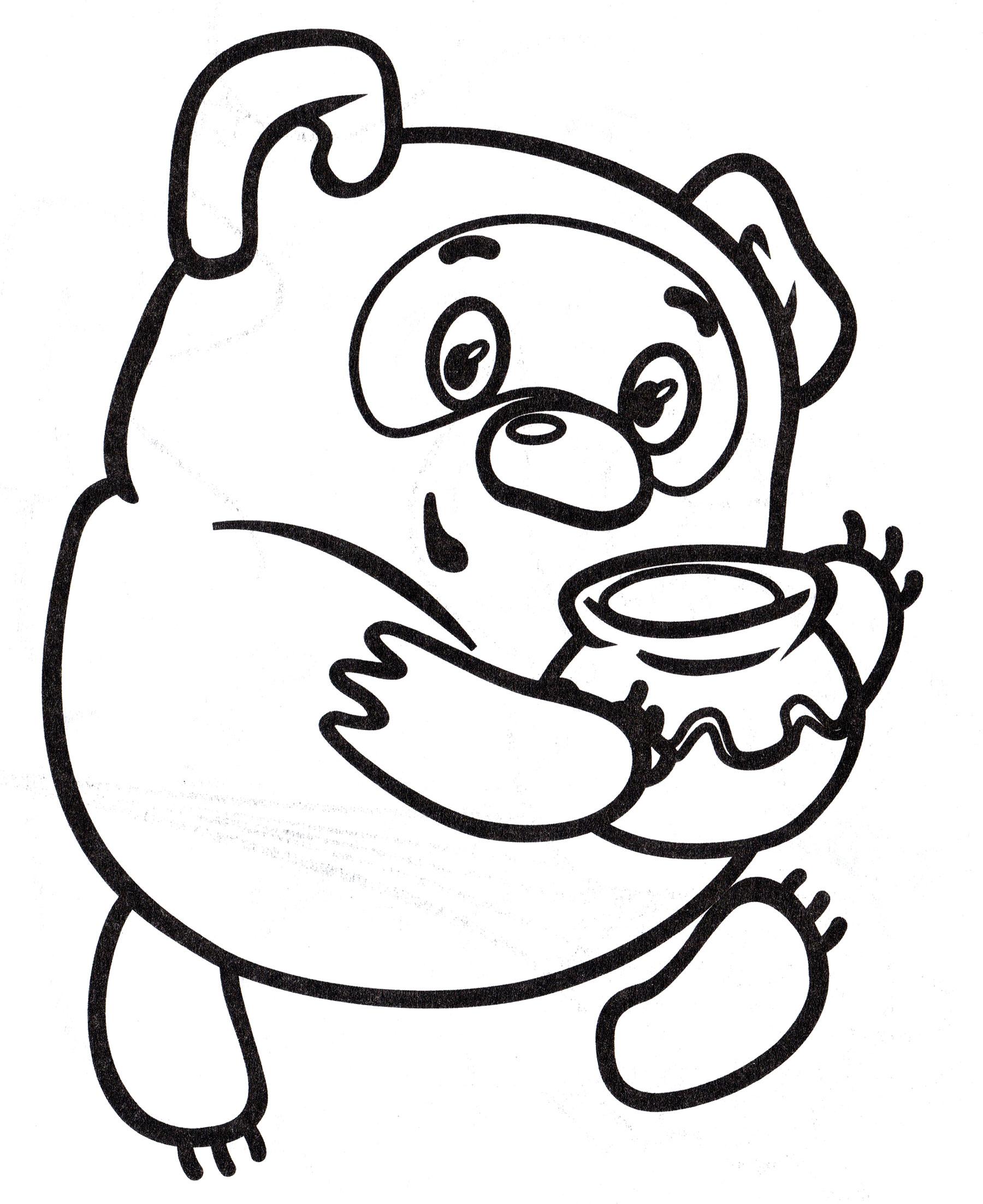 Раскраска Винни Пух несет мед - распечатать бесплатно