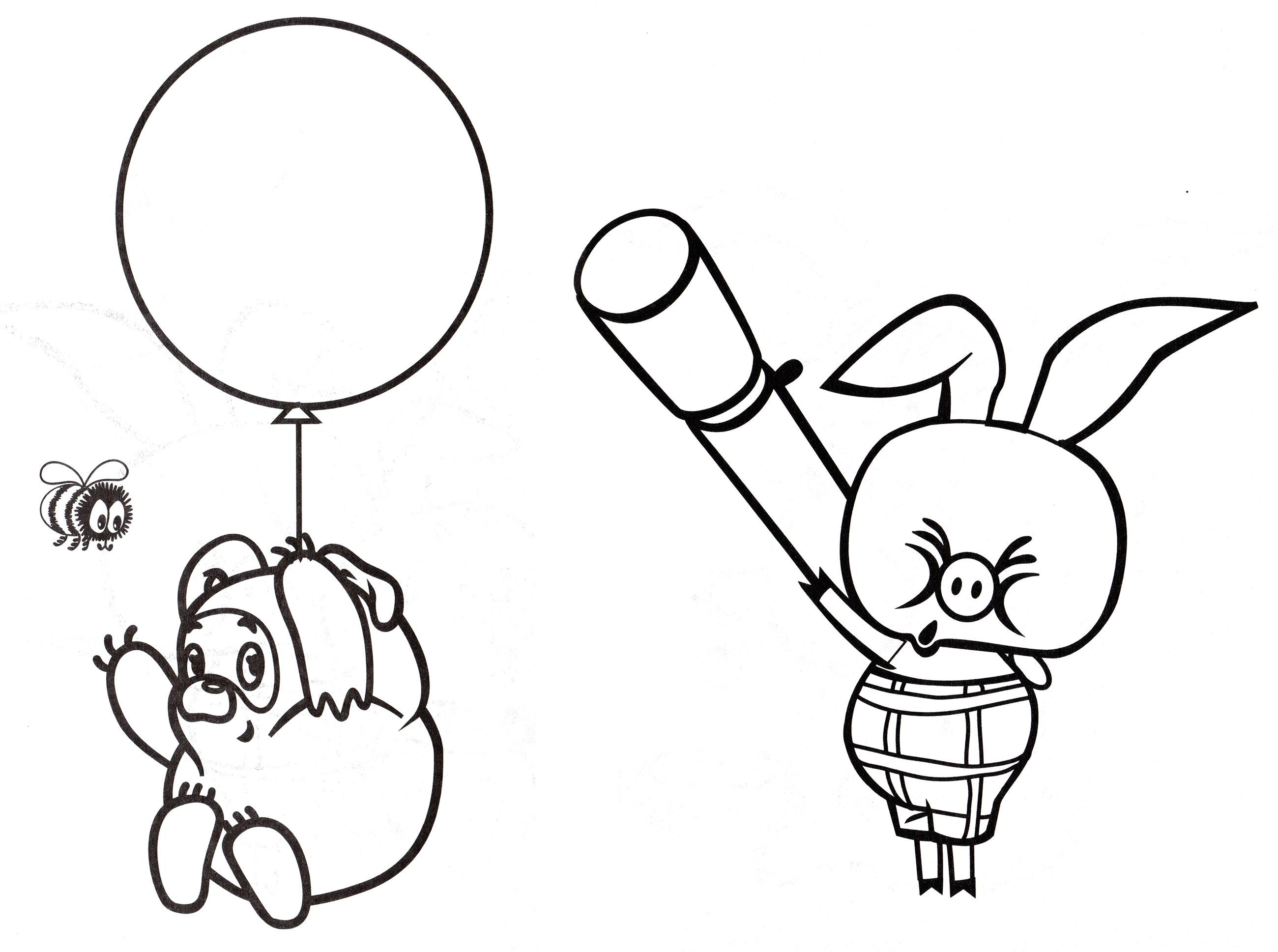 Раскраска Винни Пух летит на шаре - распечатать бесплатно