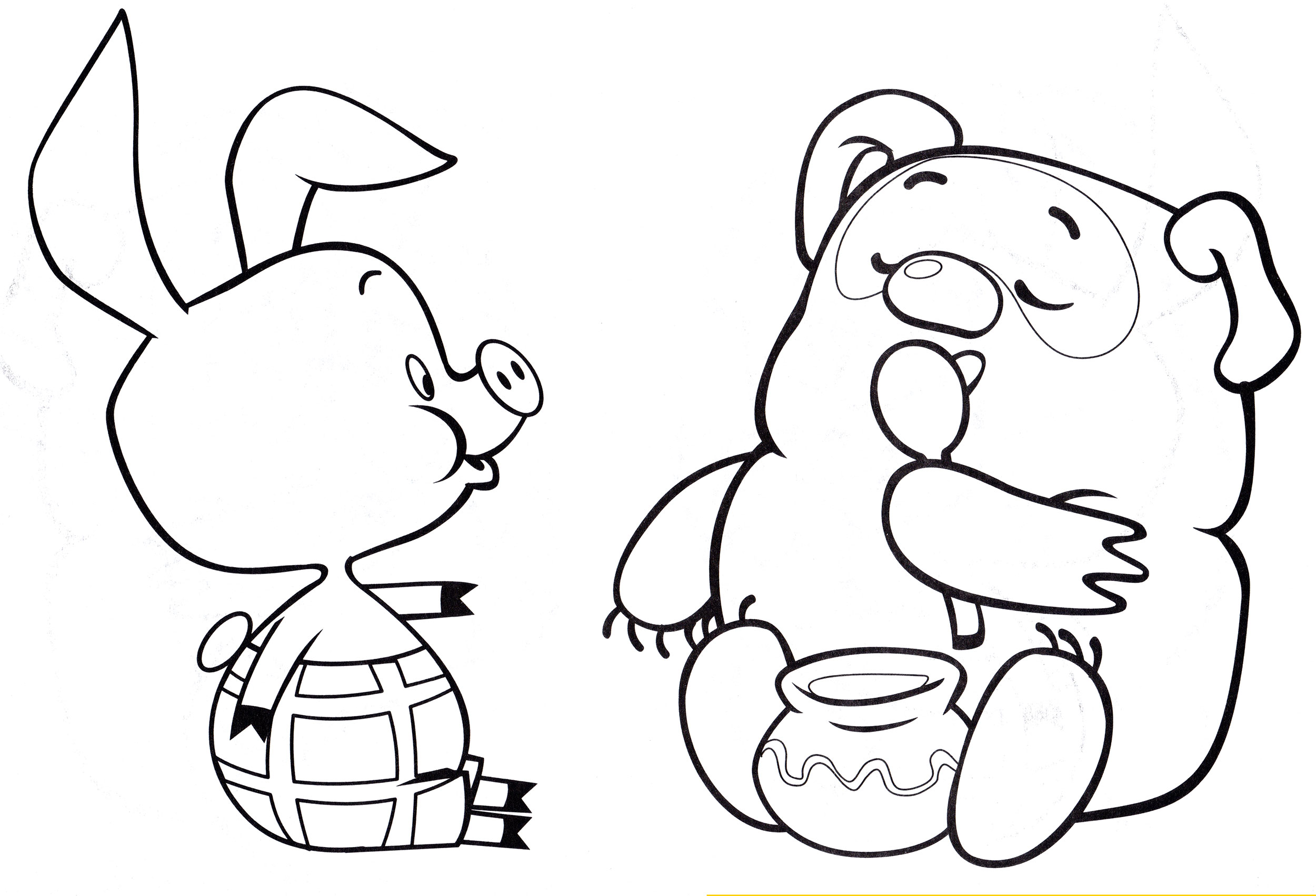 Раскраска Винни и Пятачок едят мед - распечатать бесплатно