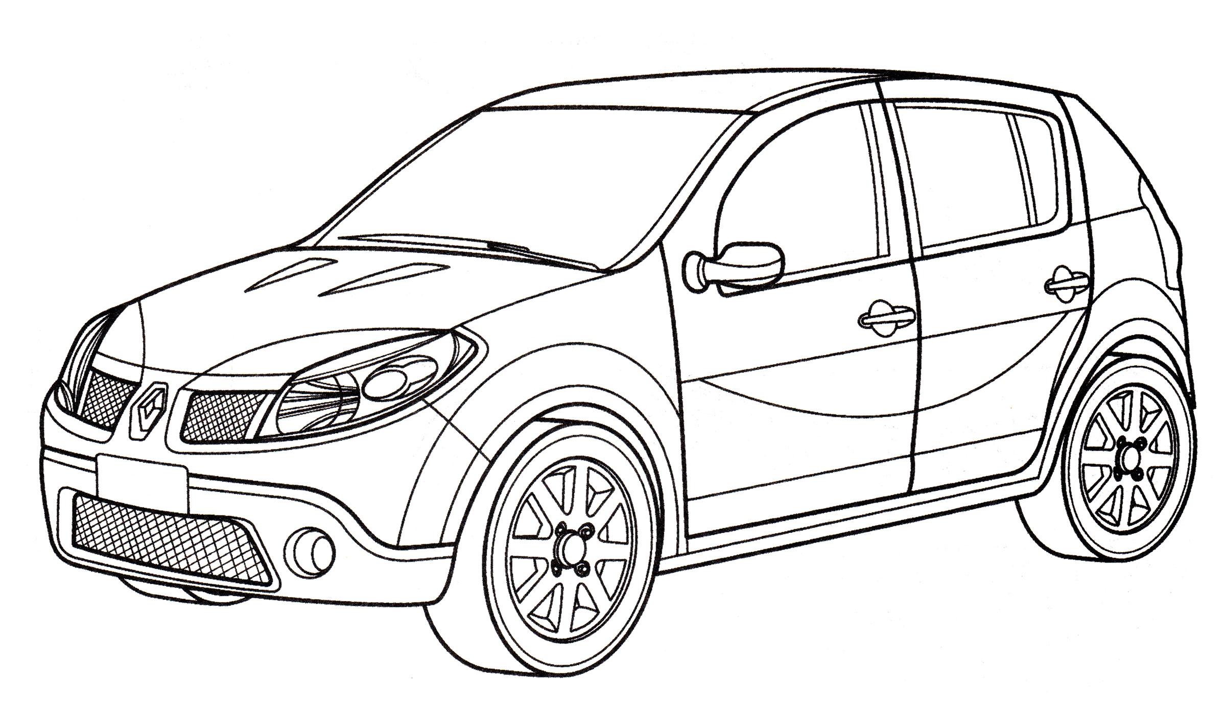 Раскраска Renault Sandero - распечатать бесплатно