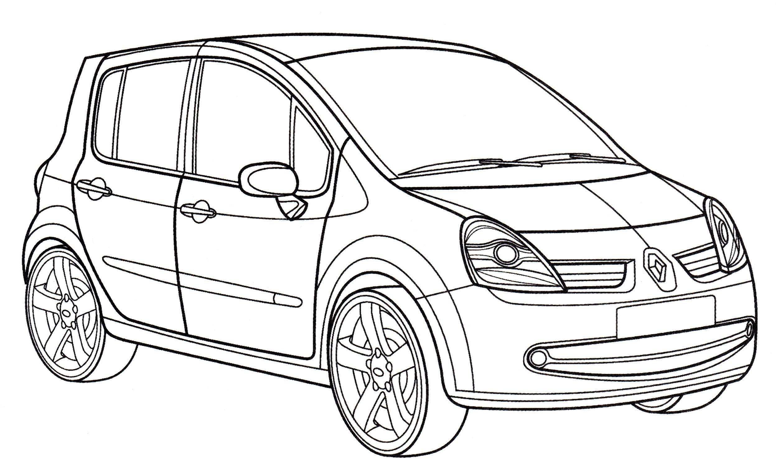 Раскраска Renault Modus - распечатать бесплатно
