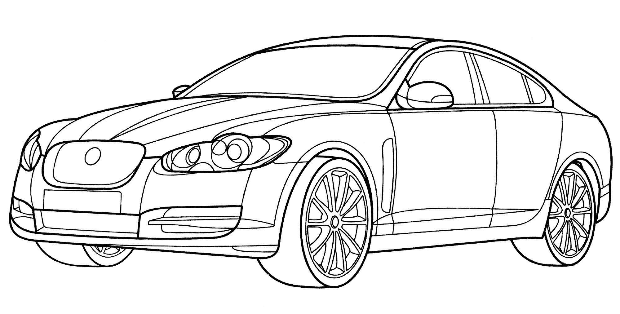 Раскраска Jaguar XF - распечатать бесплатно