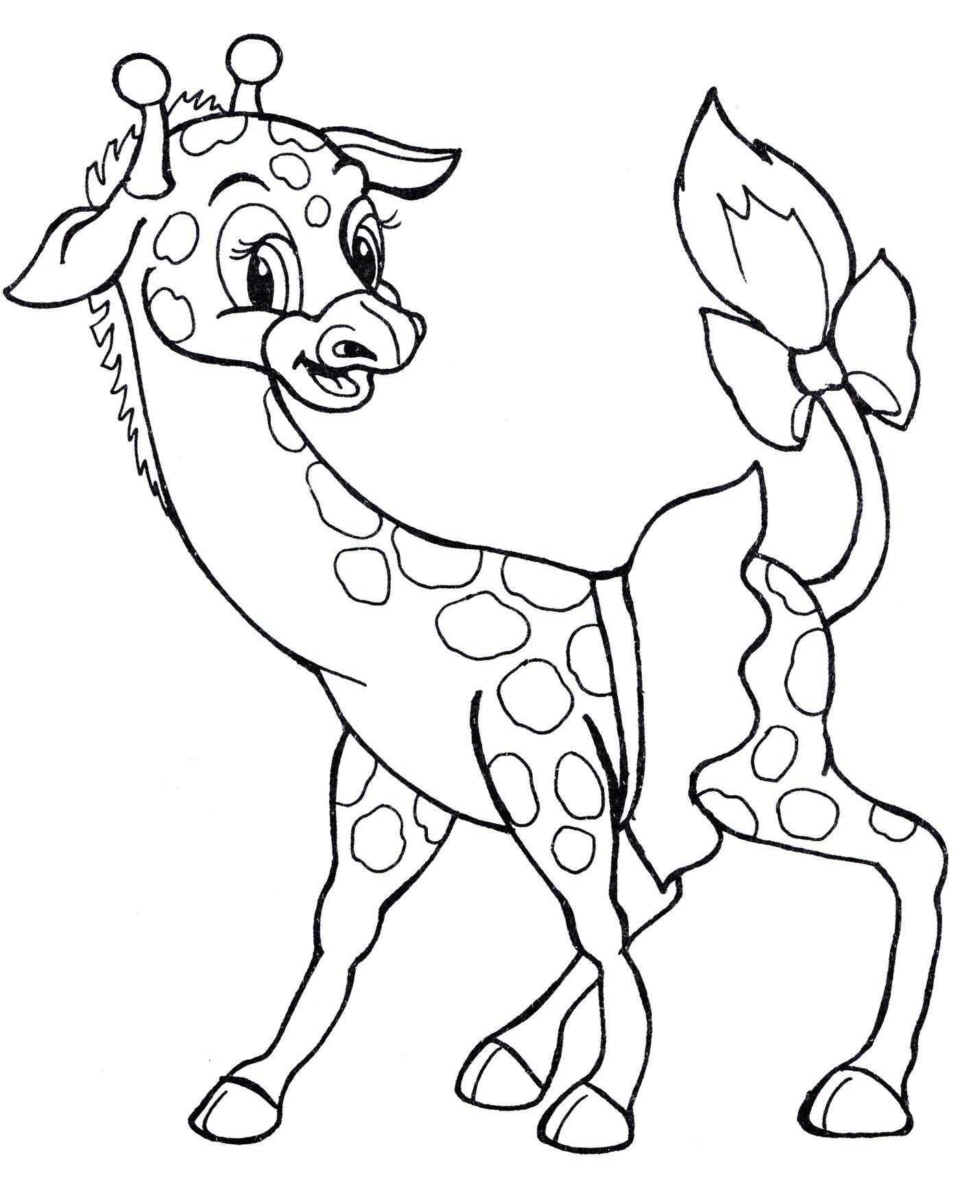 Раскраска Жираф с бантиком на хвосте - распечатать бесплатно