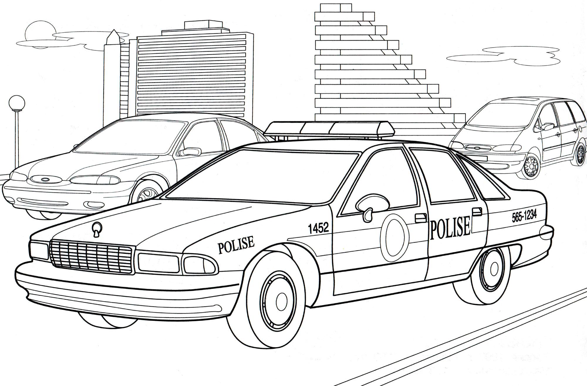 Раскраска Полицейская машина США - распечатать бесплатно