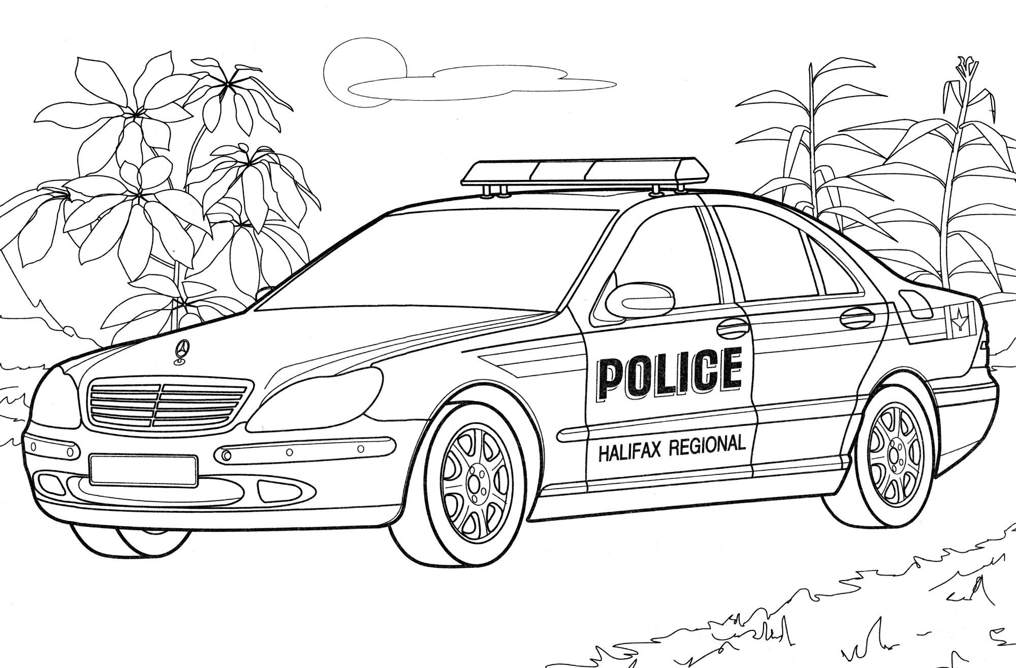 Раскраска Полицейский Mercedes Канада - распечатать бесплатно