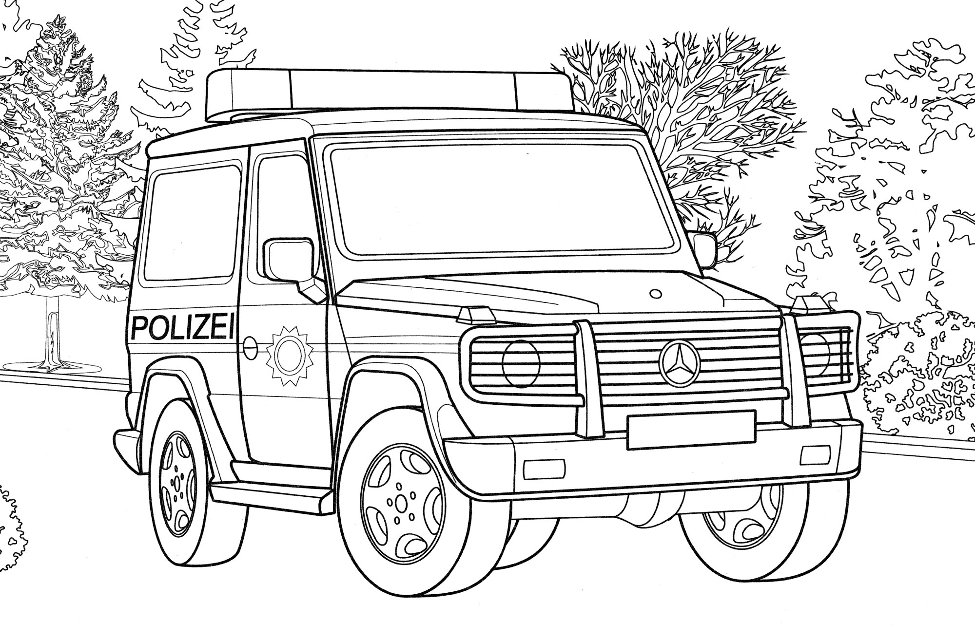 Раскраска Полицейский Гелендваген Германия - распечатать ...