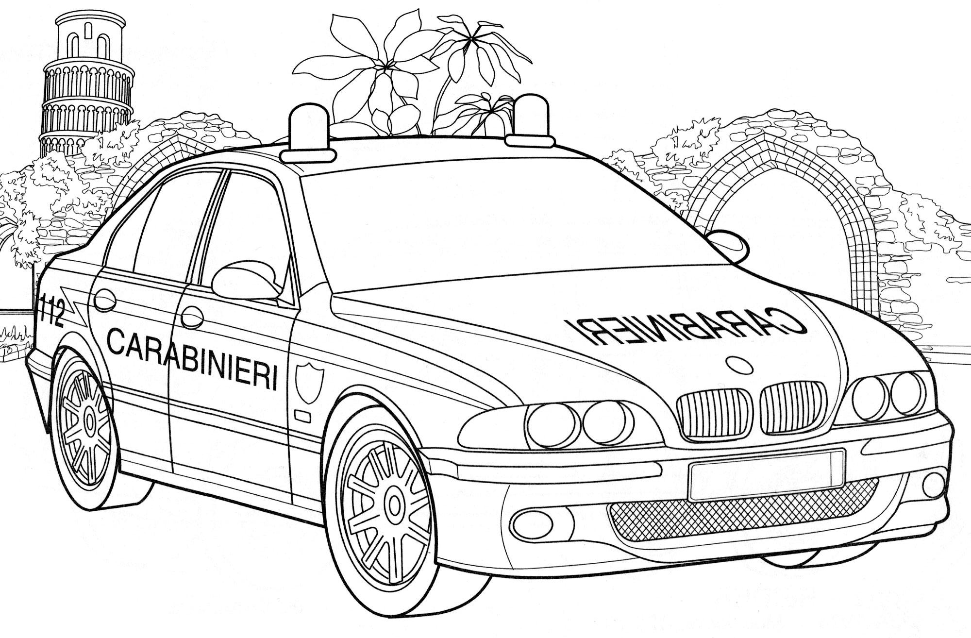 Раскраска Полицейская машина Италия - распечатать бесплатно