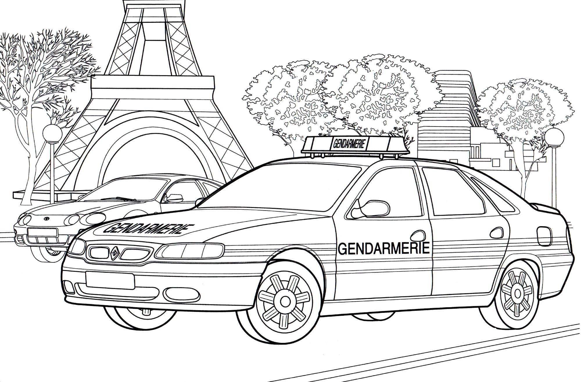Раскраска Полицейская машина Франция - распечатать бесплатно