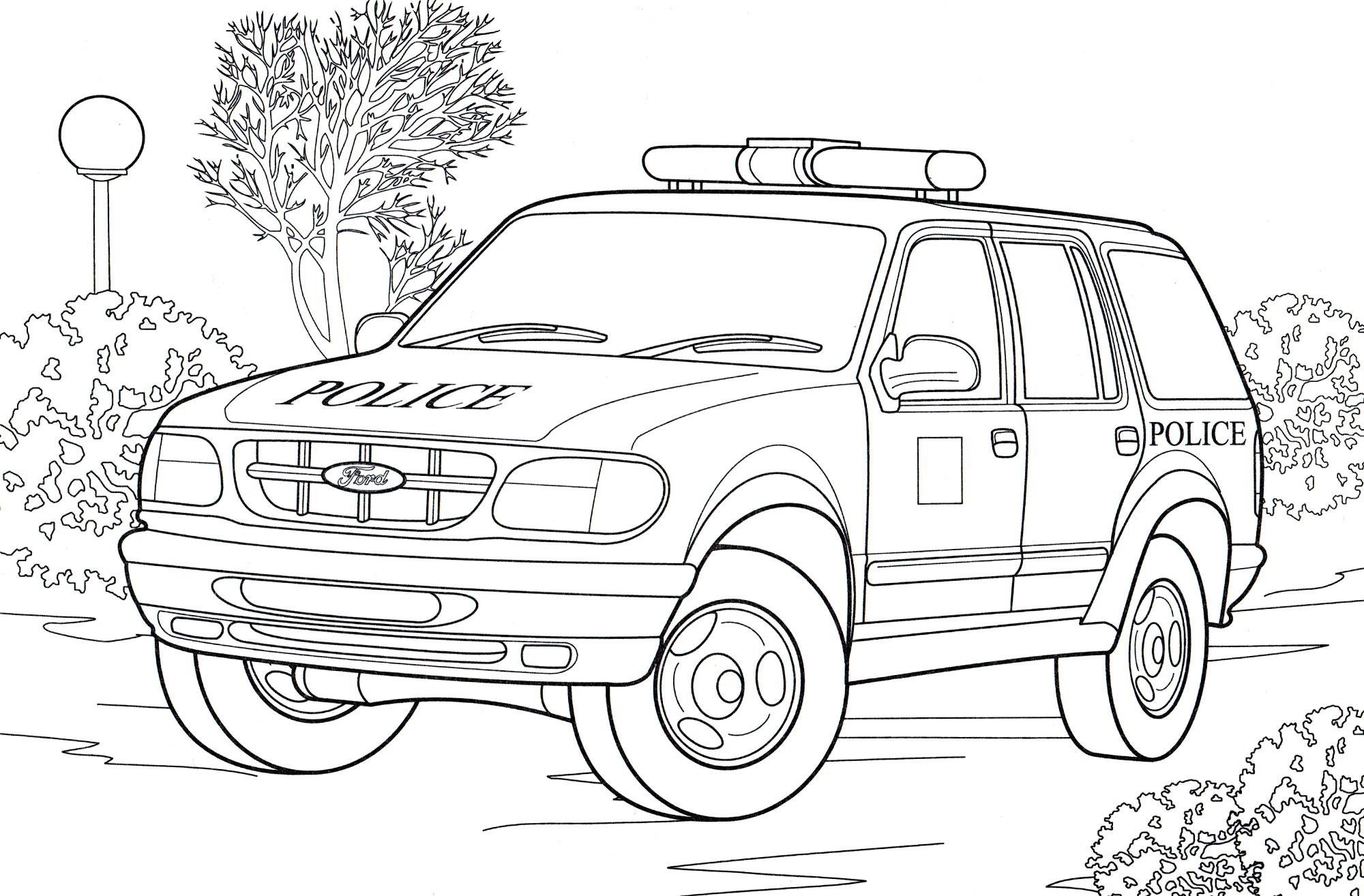 Раскраска Полицейский джип Англия - распечатать бесплатно