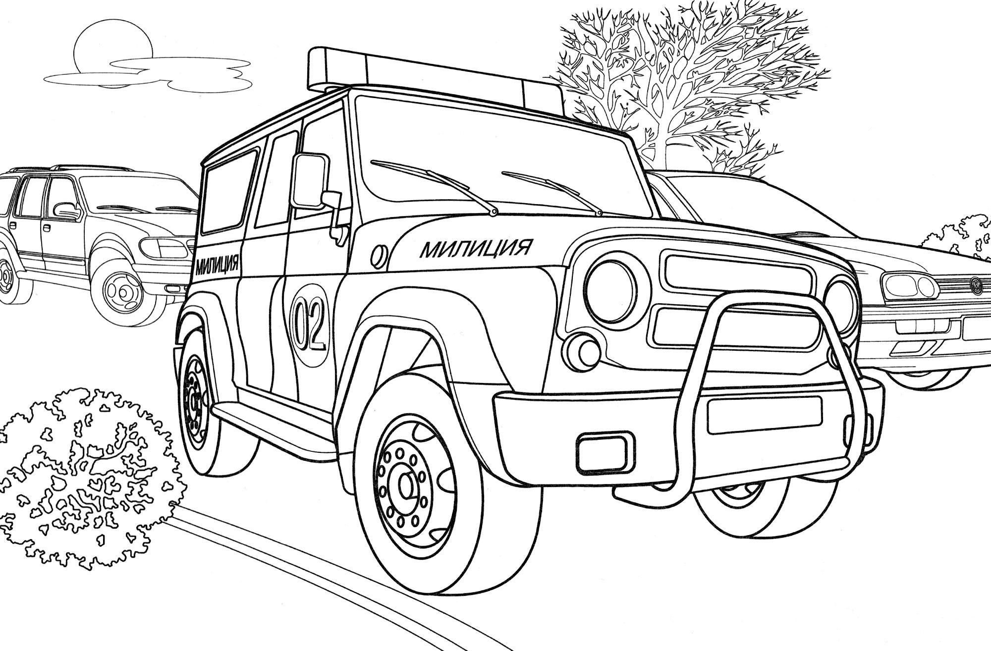 Раскраска Полицейская машина УАЗ - распечатать бесплатно