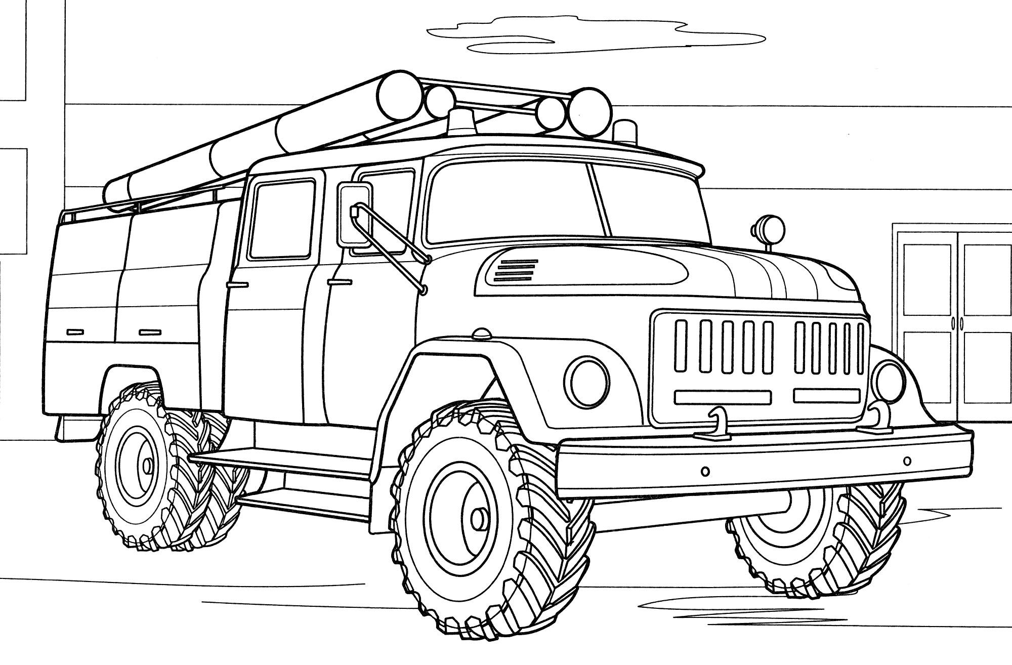 Раскраска Пожарная машина ЗИЛ-43362 - распечатать бесплатно