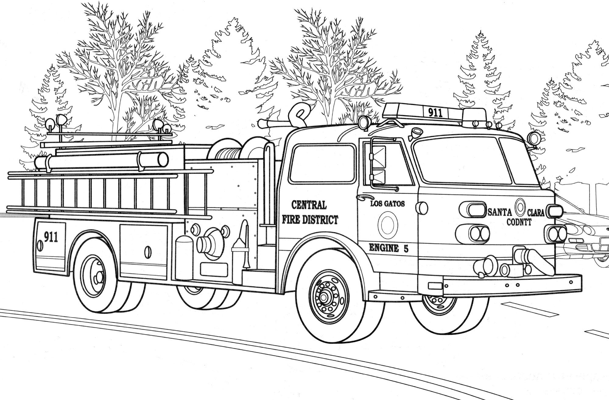 Раскраска Пожарная машина American LaFrance - распечатать ...