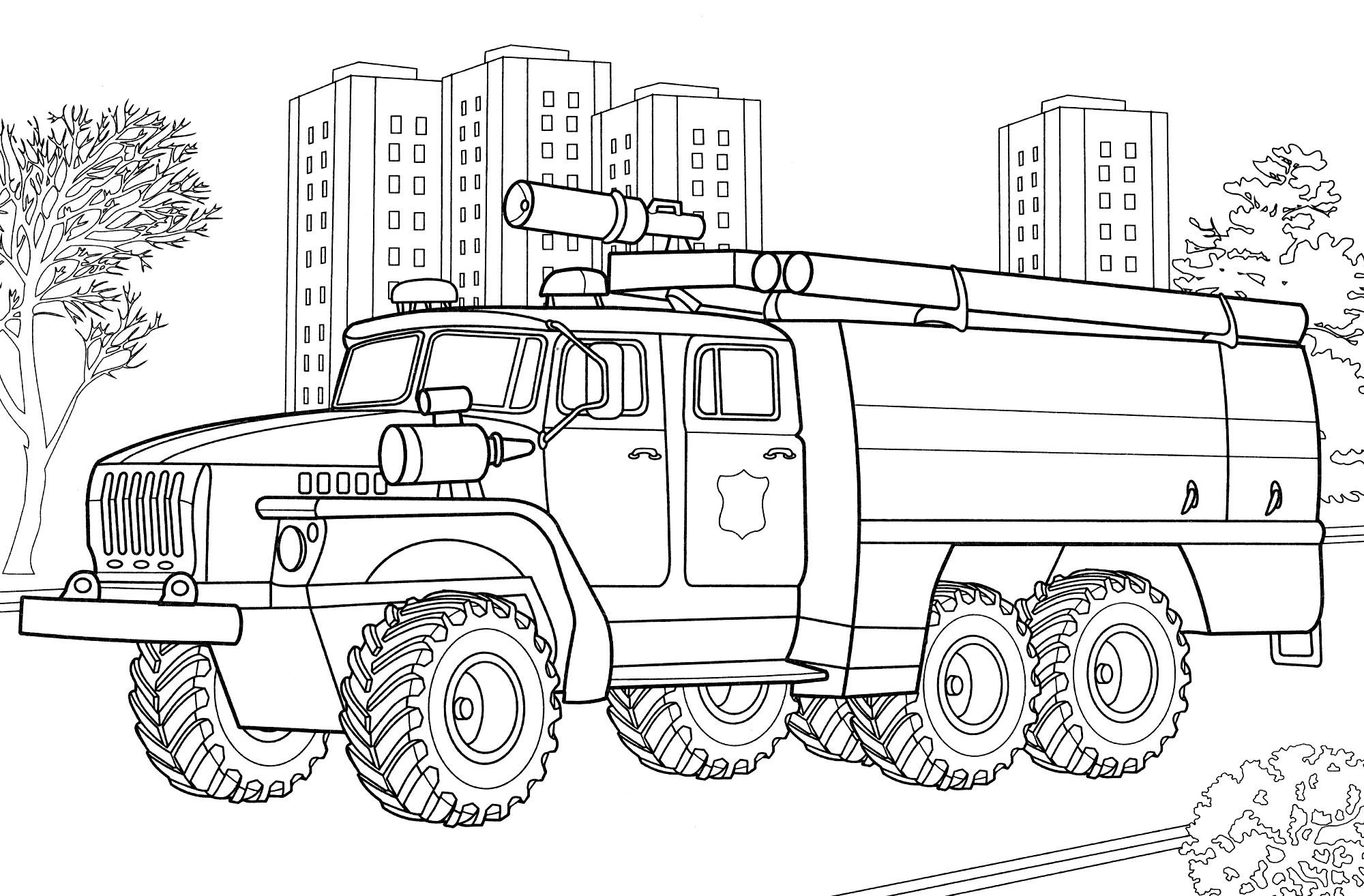 Раскраска Пожарная машина УРАЛ - распечатать бесплатно