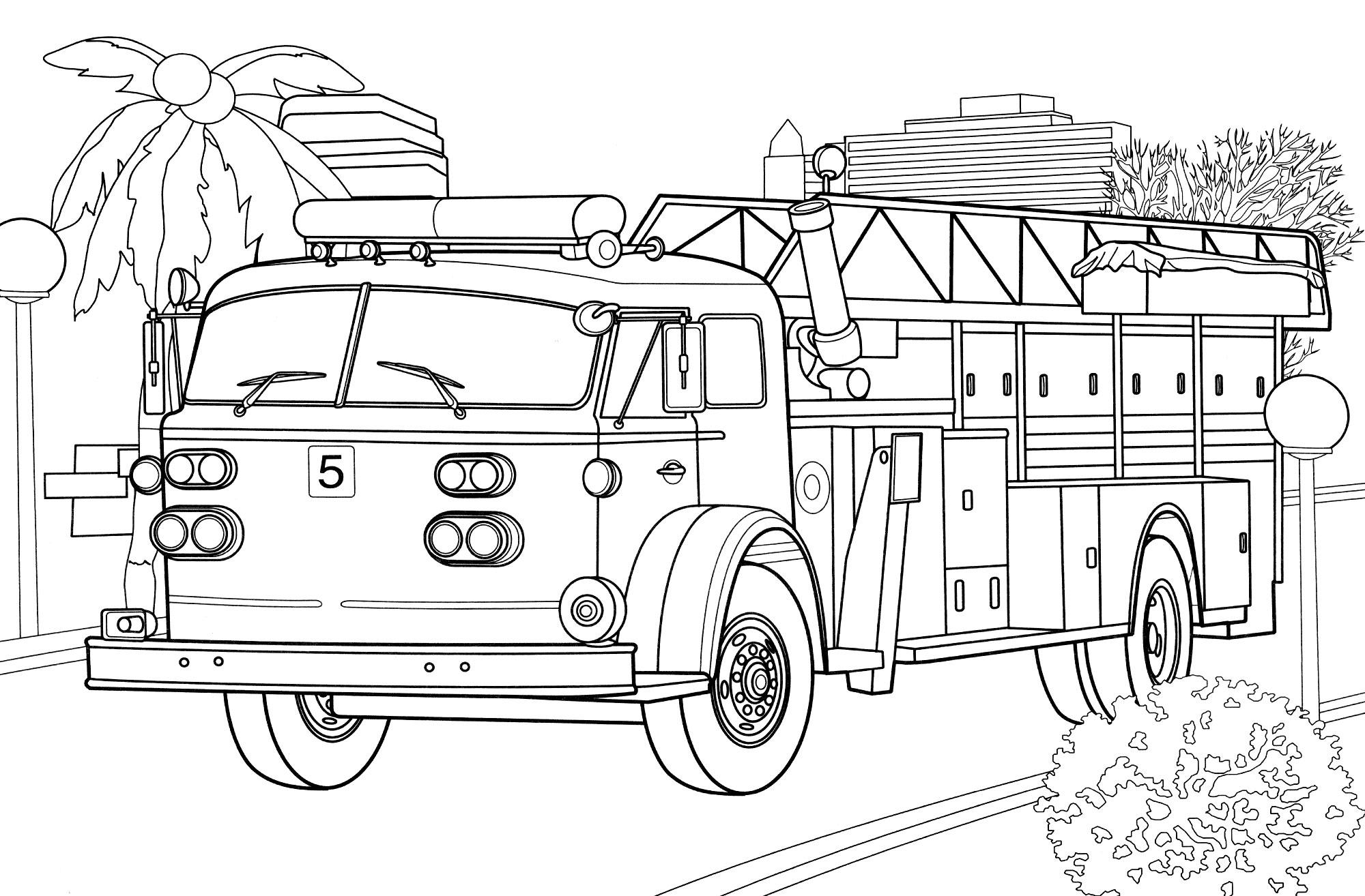 Раскраска Пожарная машина США - распечатать бесплатно