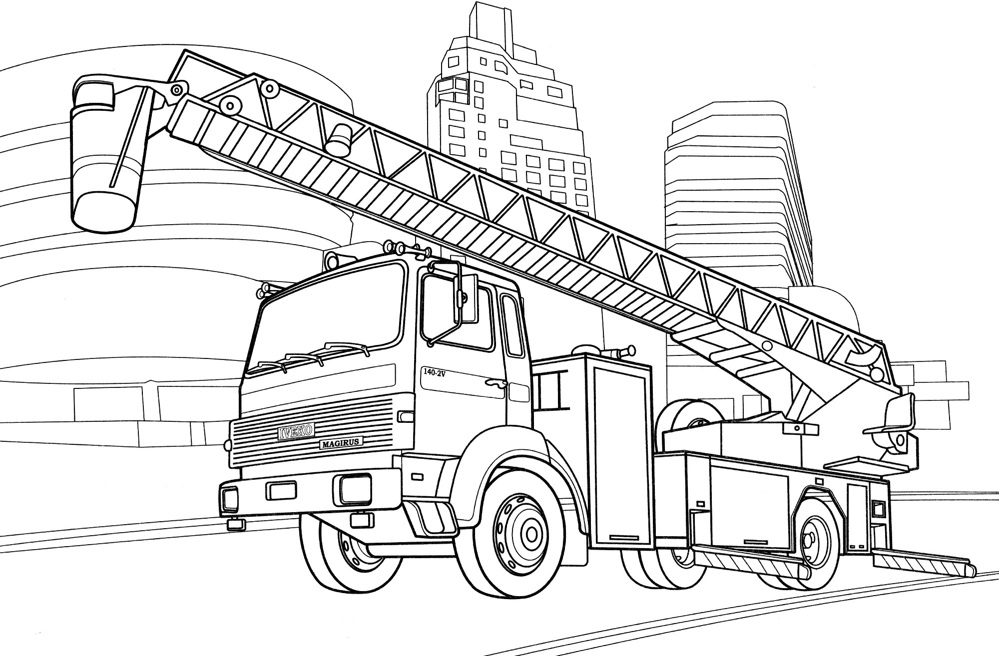 Раскраска Пожарная машина Magirus Франция - распечатать ...