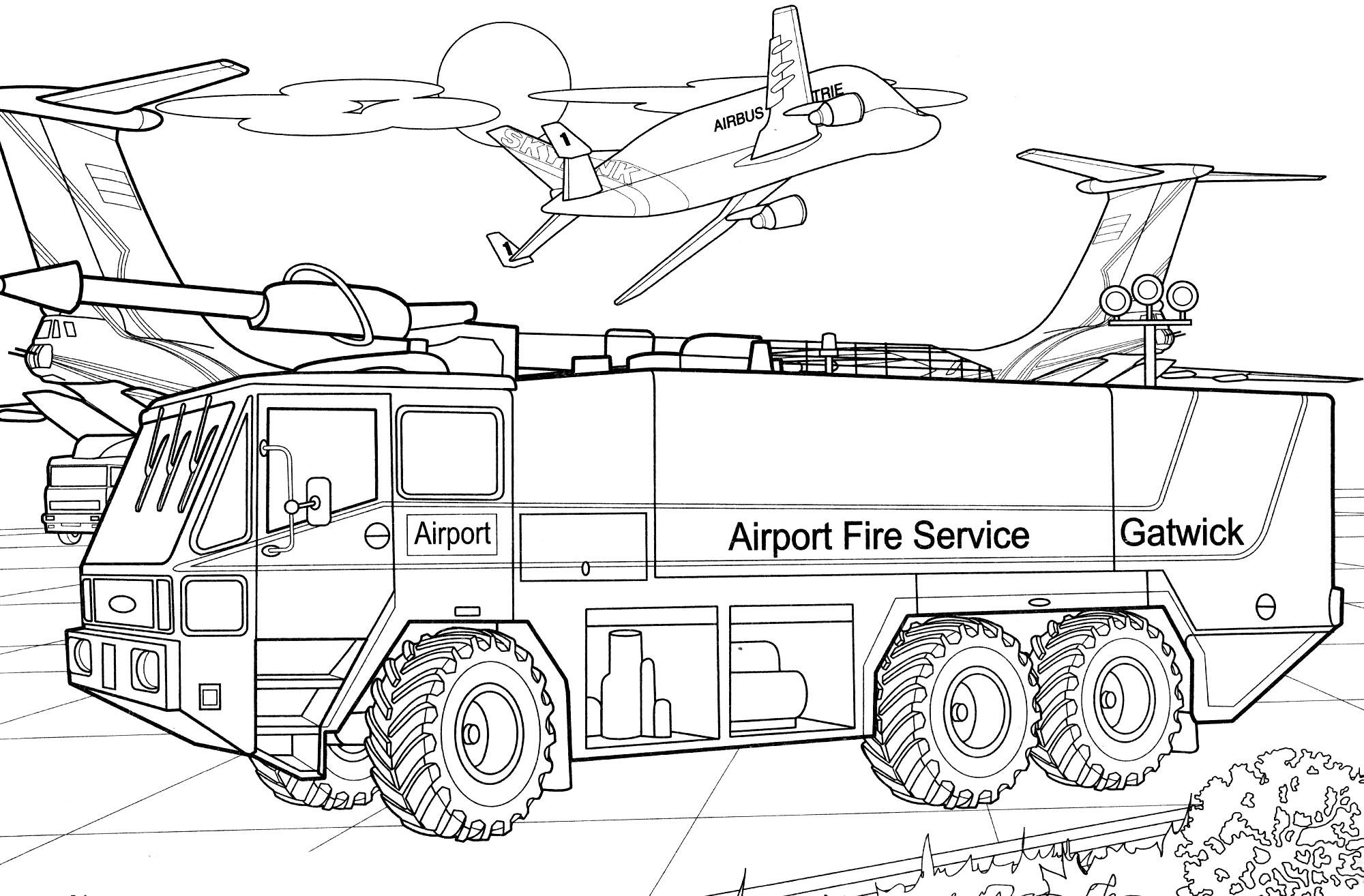 Раскраска Пожарная машина аэропорта - распечатать бесплатно