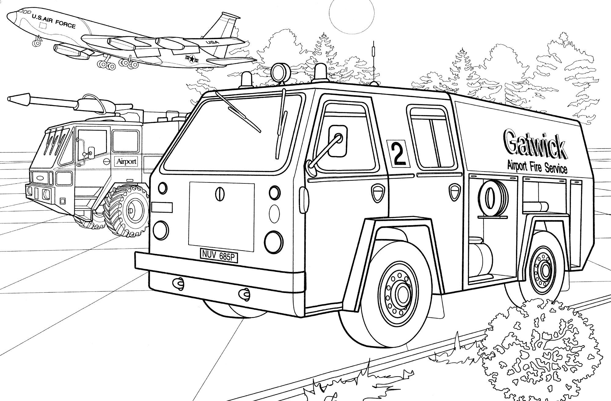 Раскраска Пожарная машина IVECO - распечатать бесплатно