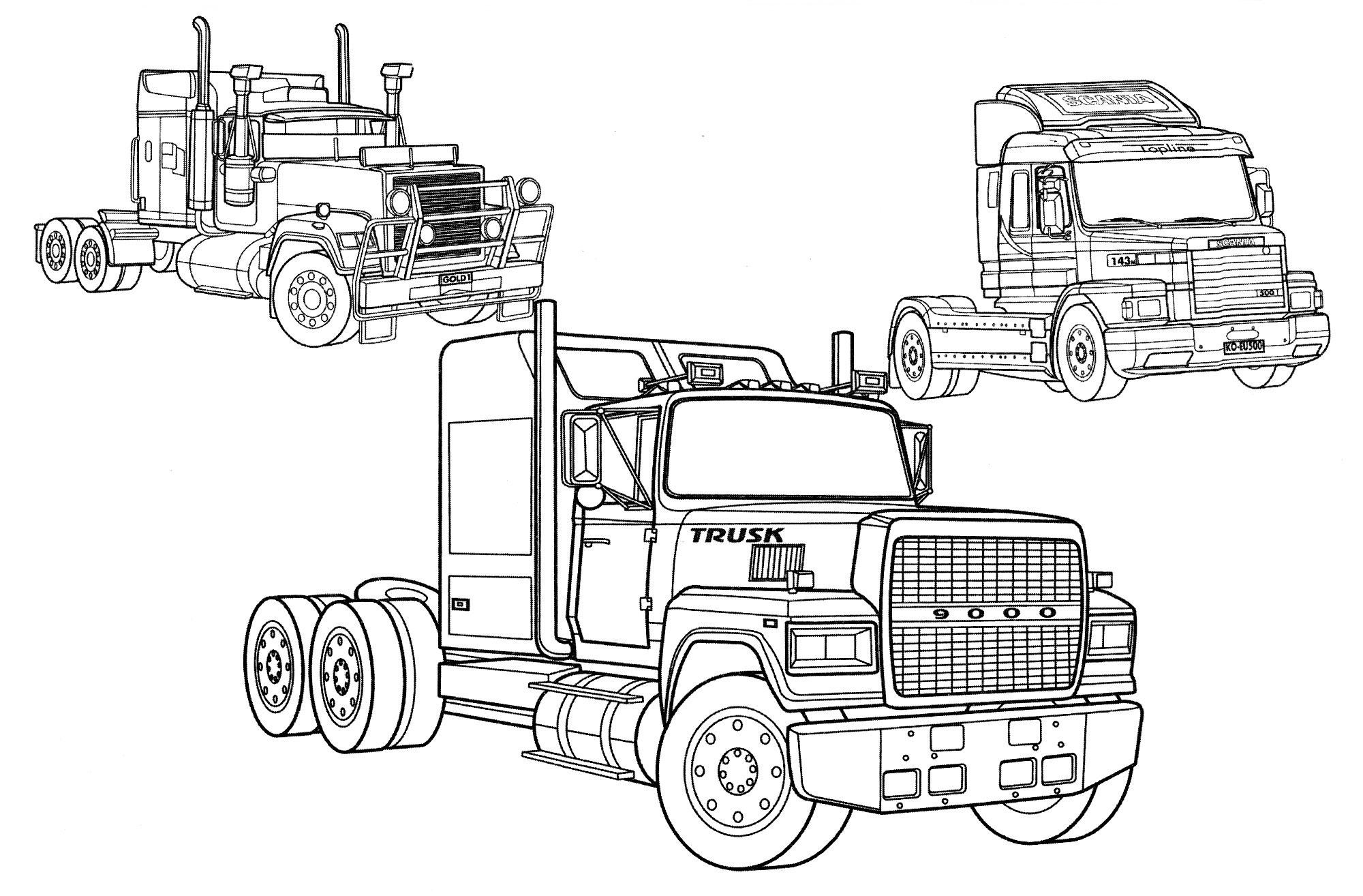 Раскраска Три больших грузовика | Раскраски Грузовики