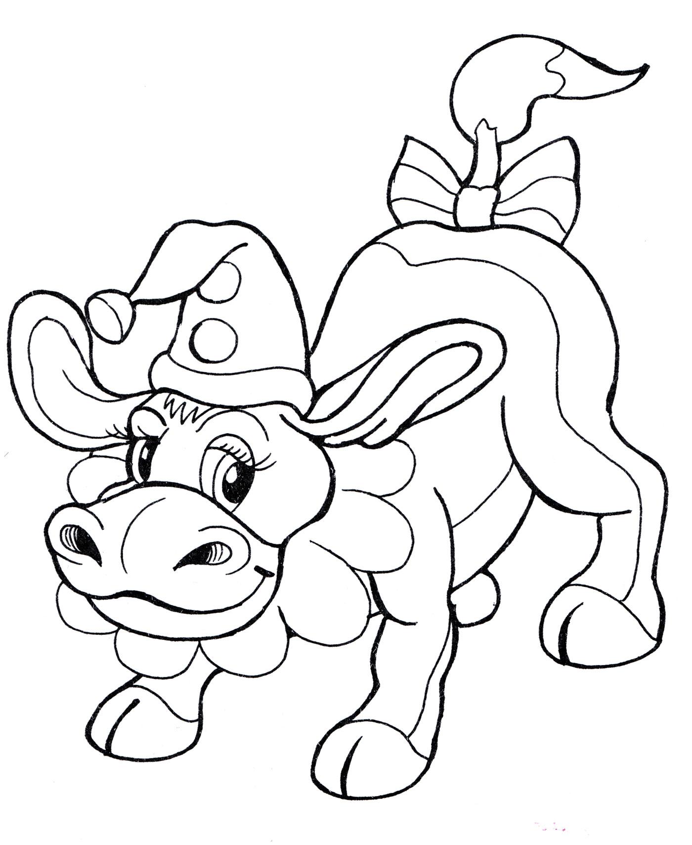 Раскраска Корова в колпаке - распечатать бесплатно