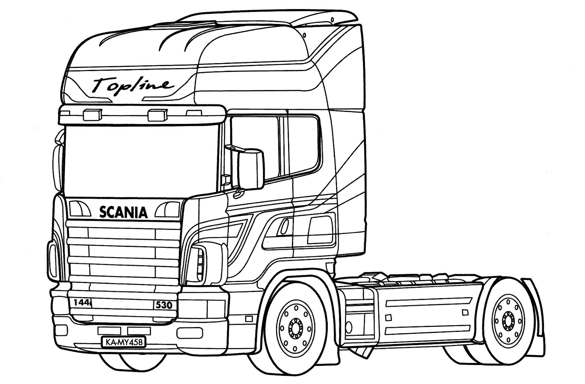Раскраска Scania 144 Topline | Раскраски Грузовики