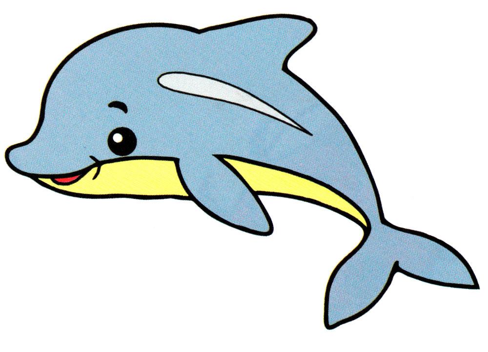Раскраска Маленький дельфин - распечатать бесплатно