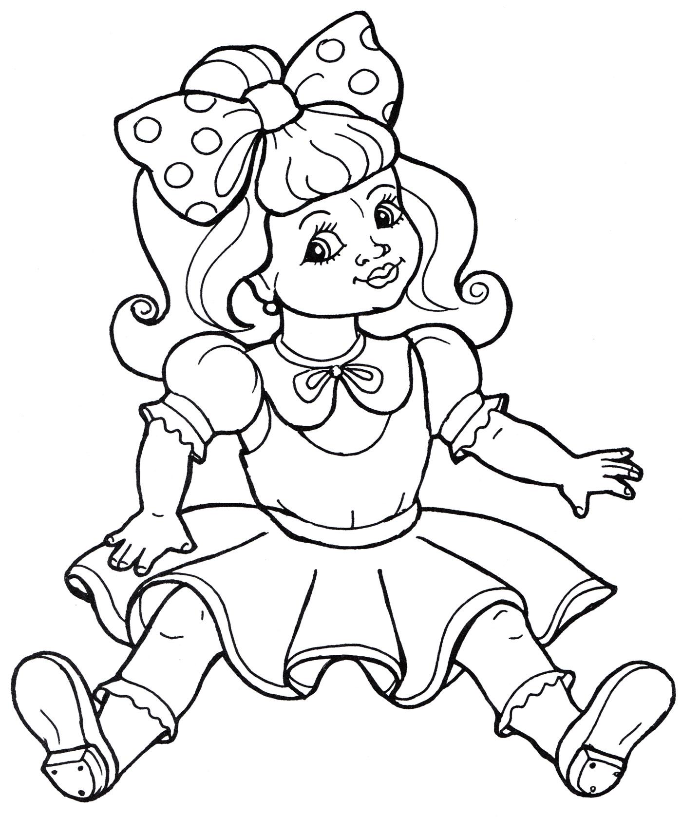 Раскраска Кукла с бантиком - распечатать бесплатно