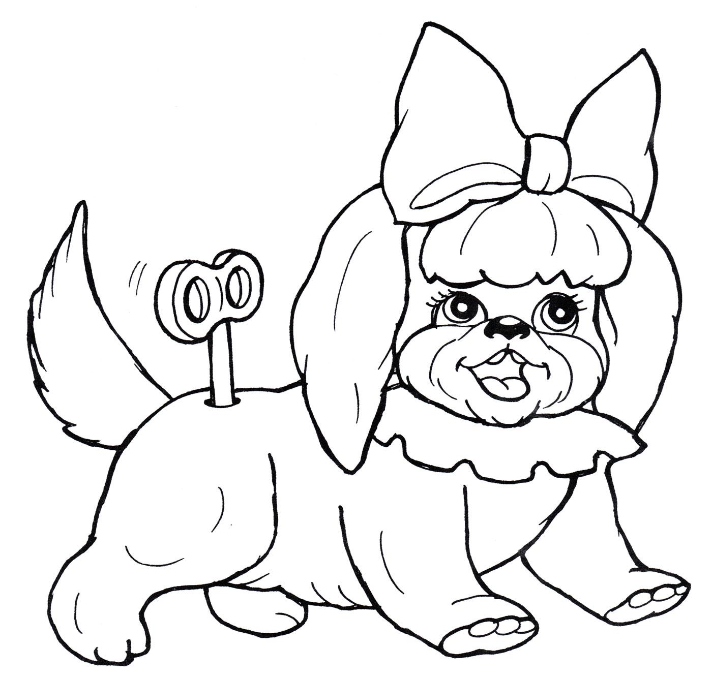 Раскраска Заводная собачка - распечатать бесплатно