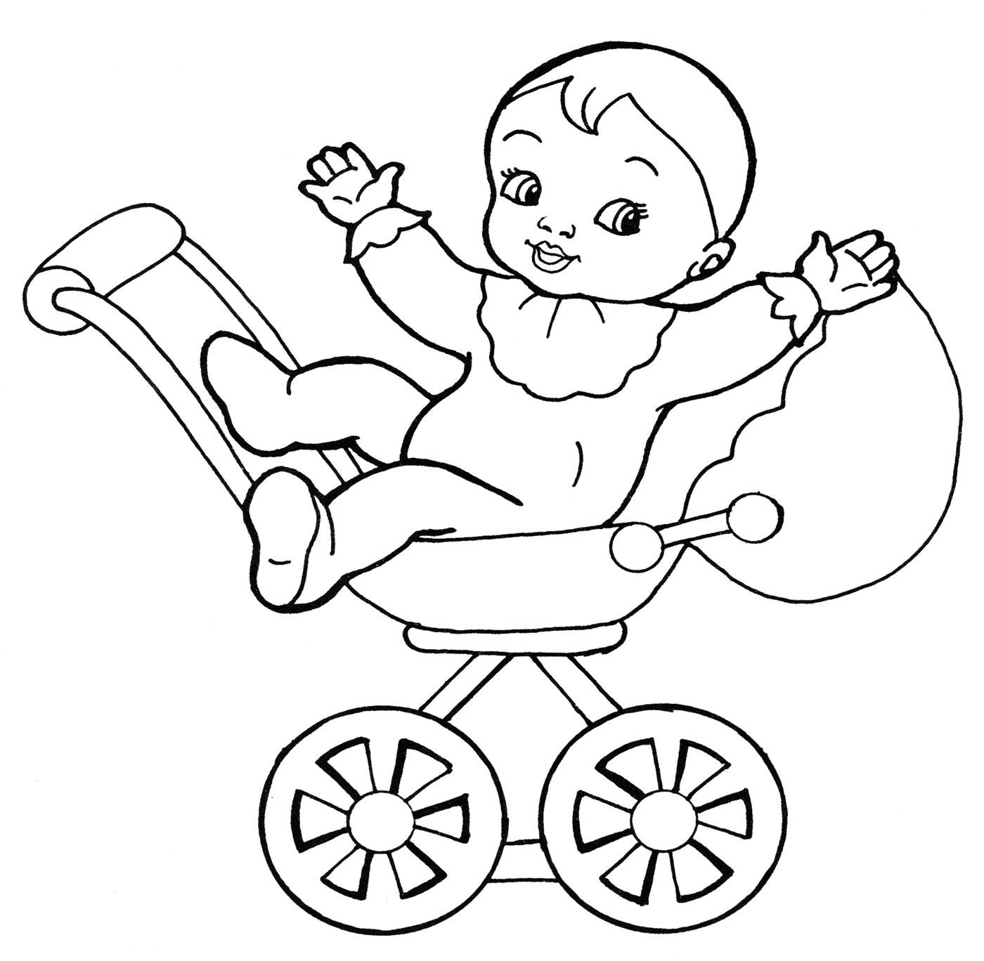 Раскраска Пупс в коляске - распечатать бесплатно