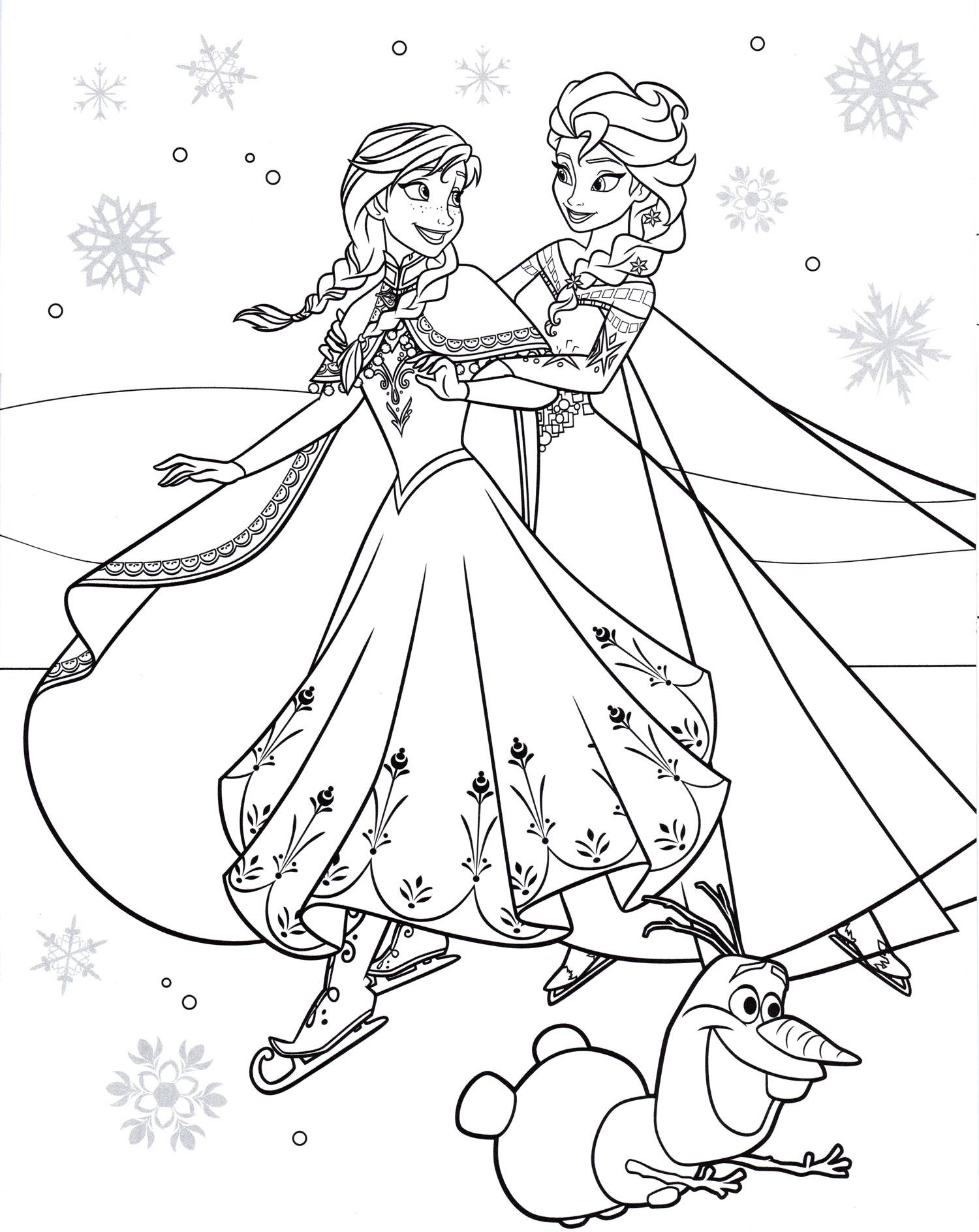 Раскраска Эльза и Анна на коньках | Раскраски Холодное сердце