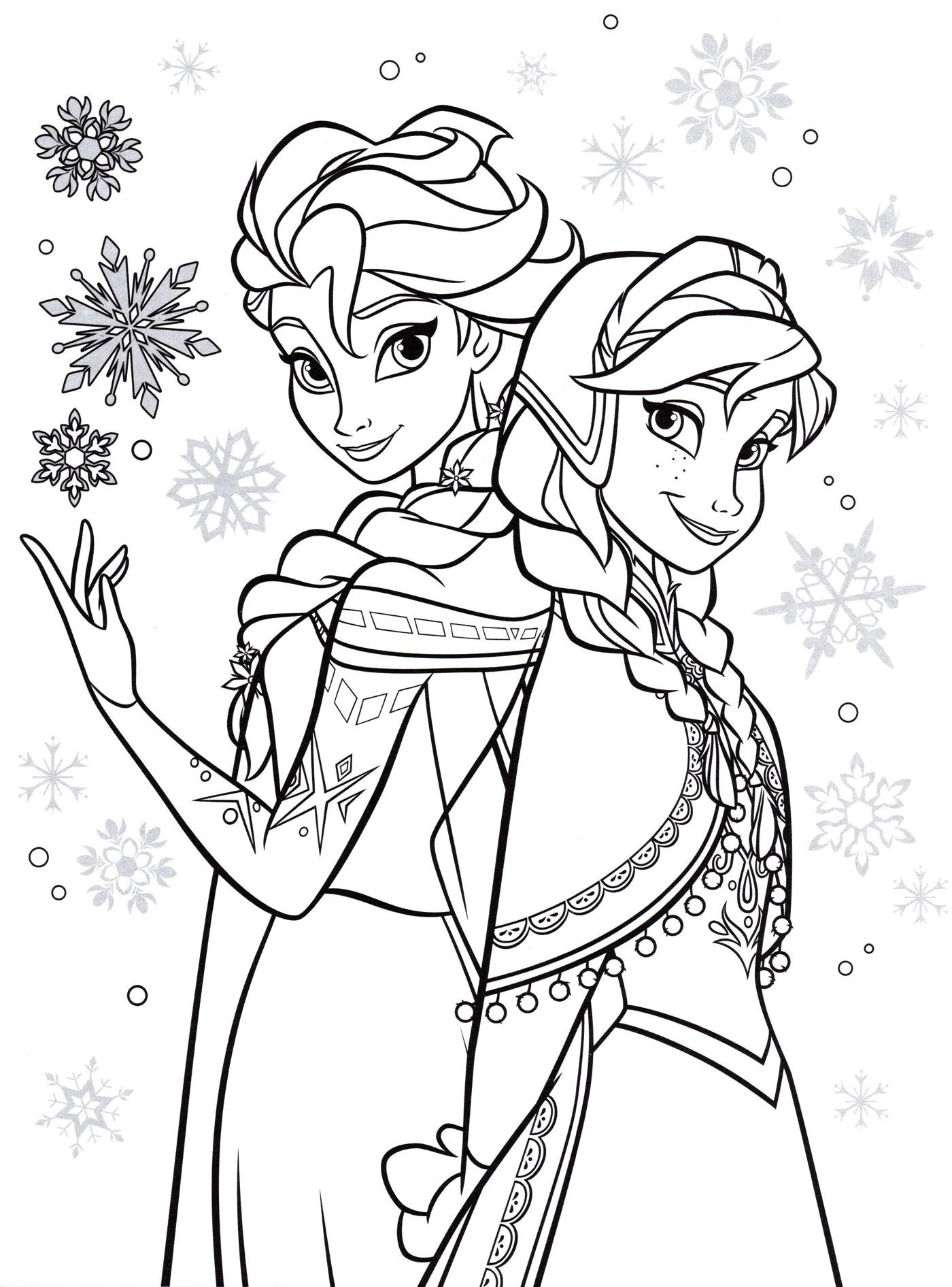 Раскраска Анна, Эльза и ее магия | Раскраски Холодное сердце