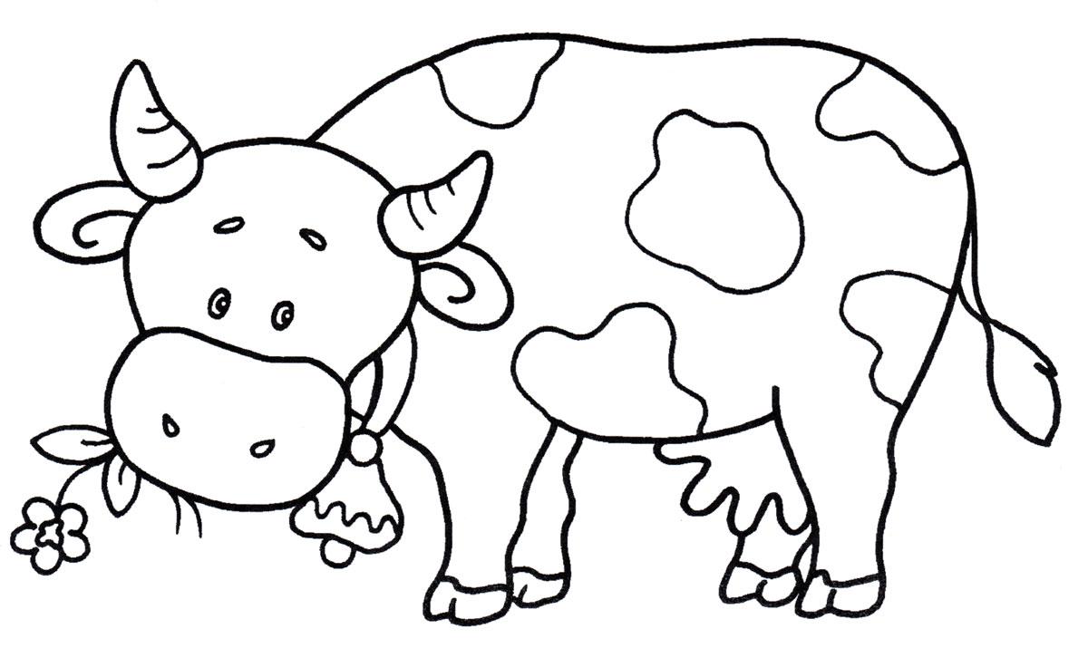 Раскраска Корова кушает травку - распечатать бесплатно