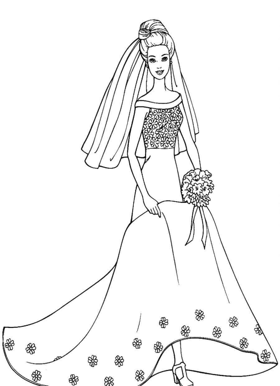 Раскраска Барби в свадебном платье - распечатать бесплатно