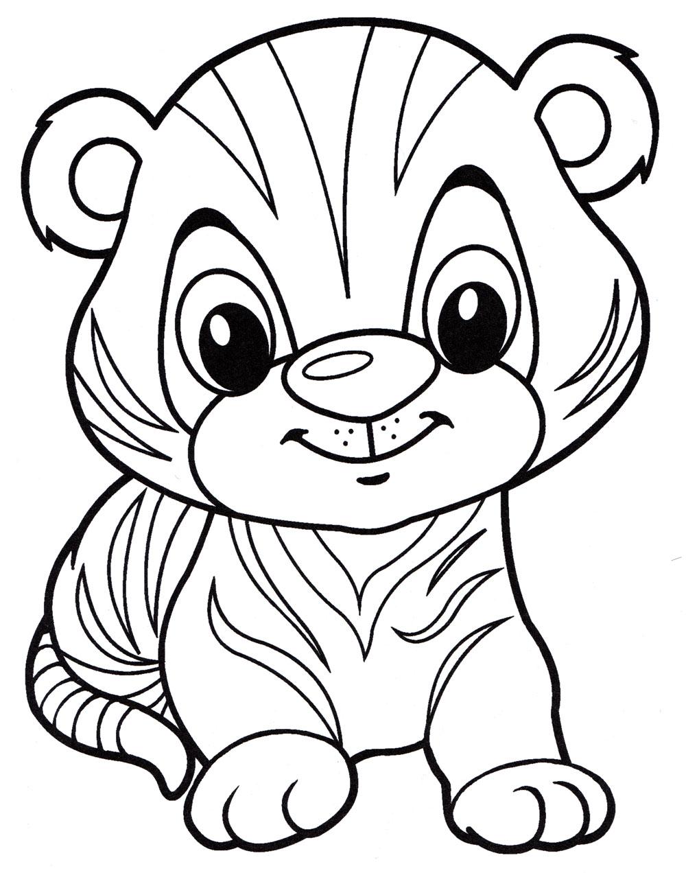 Рисунок смешного тигренка разукрашки, открытка своими руками
