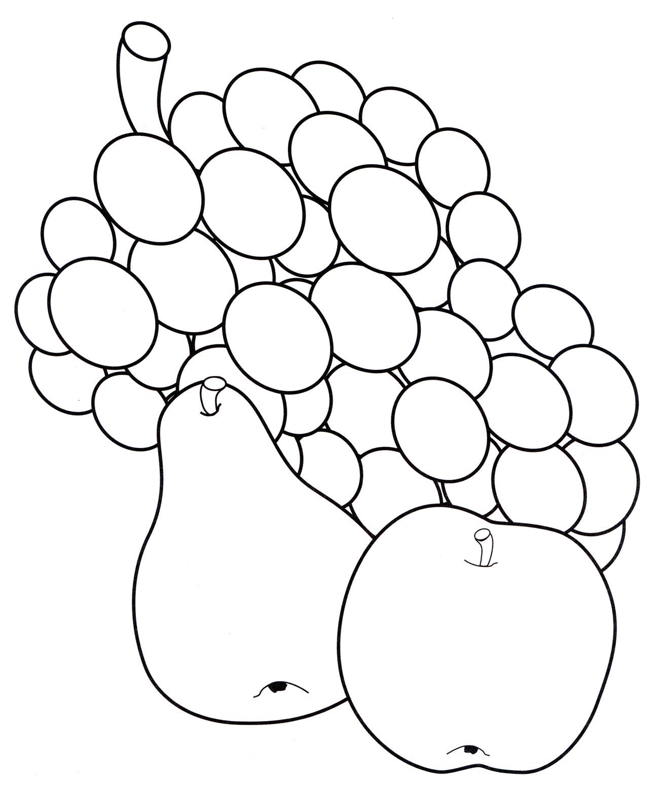 Раскраска Виноград, яблоко и груша - распечатать бесплатно