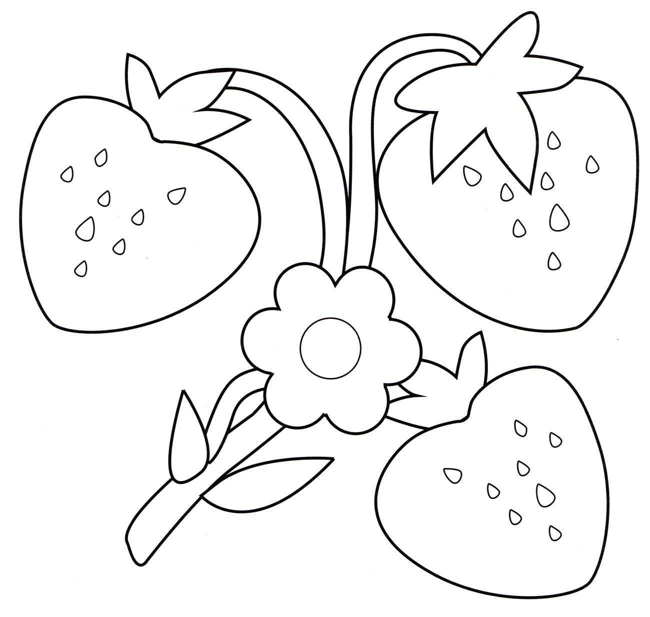 Раскраска Клубника на ветке - распечатать бесплатно
