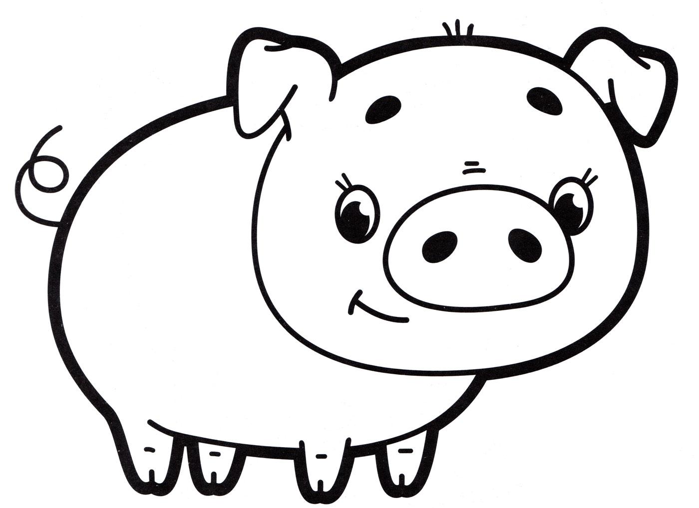 Раскраска Милая свинья - распечатать бесплатно