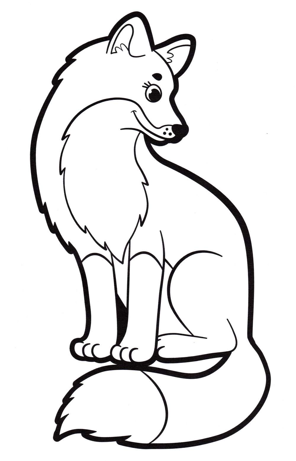 Раскраска Красивая лисица - распечатать бесплатно