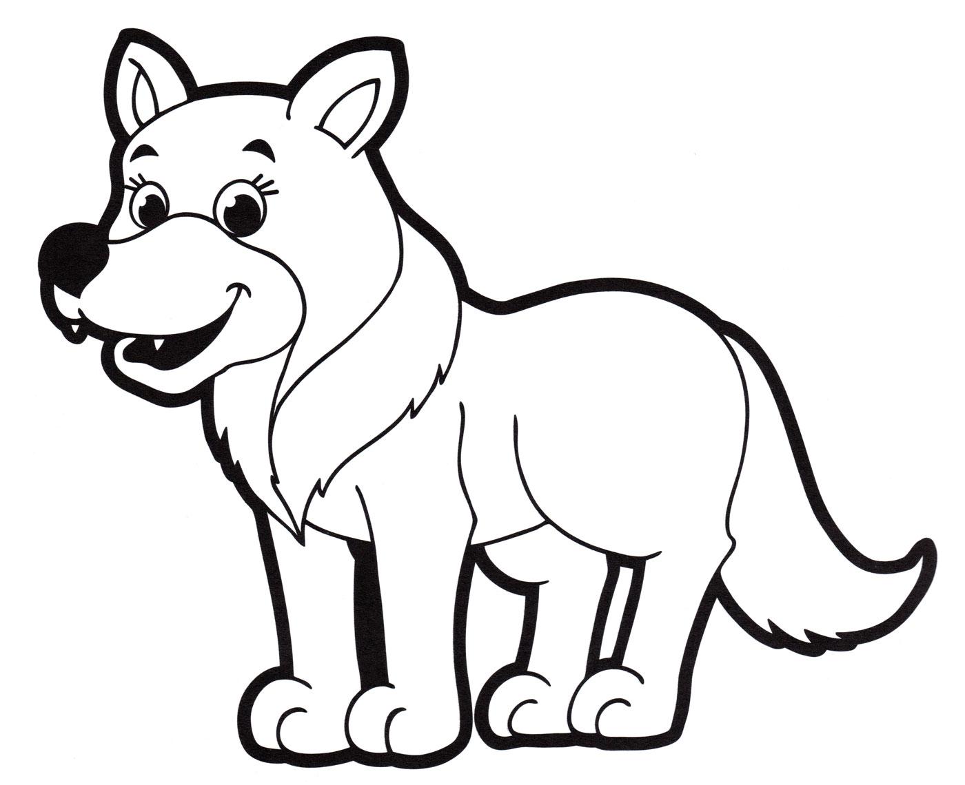 Раскраска Серый волк - распечатать бесплатно