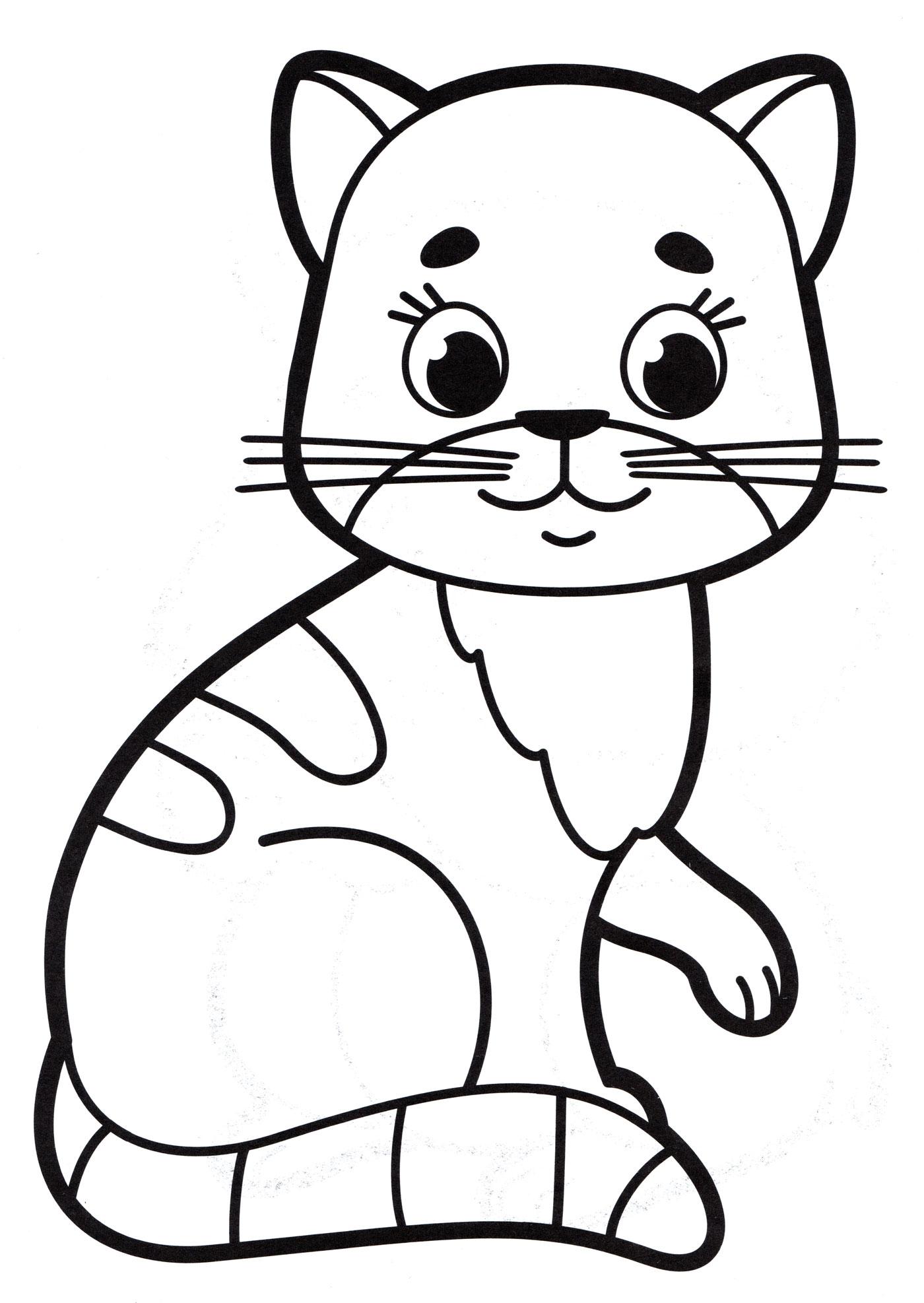 Раскраска Милая кошка - распечатать бесплатно