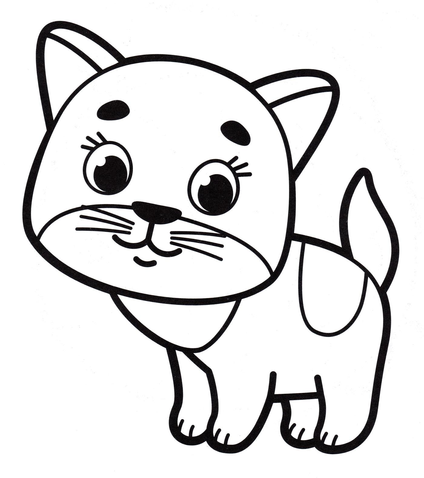 Раскраска Маленький котенок - распечатать бесплатно